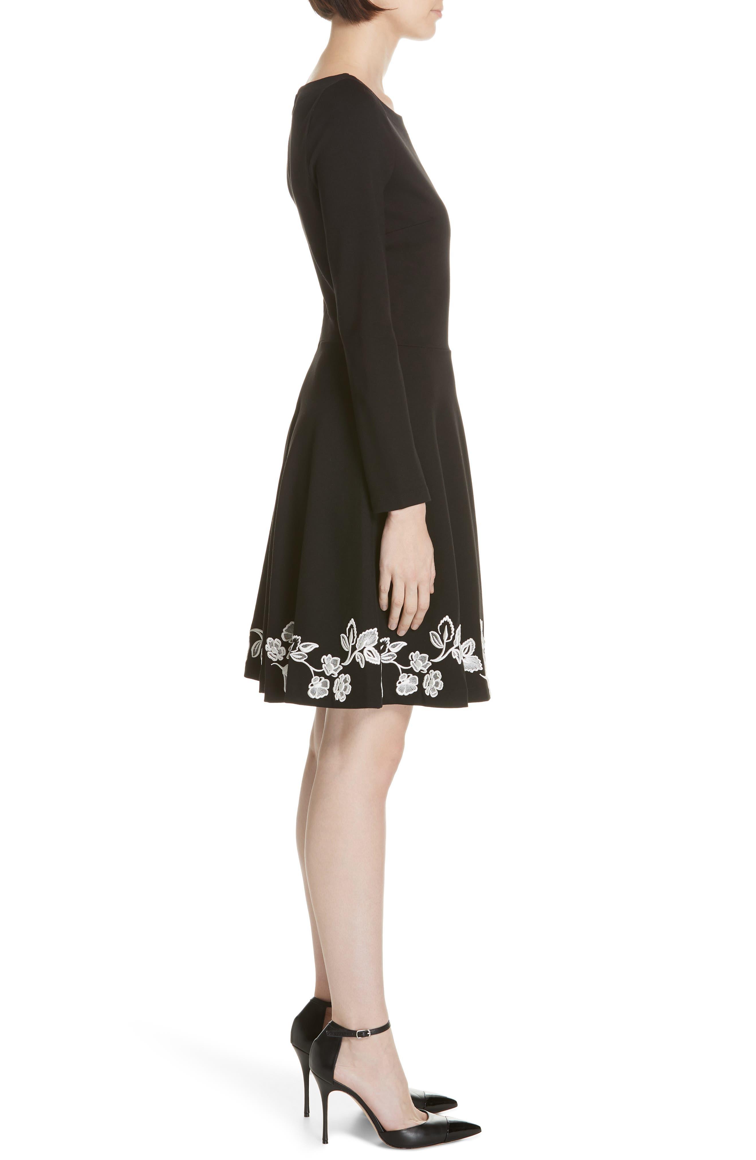embroidered ponte fit & flare dress,                             Alternate thumbnail 3, color,                             BLACK
