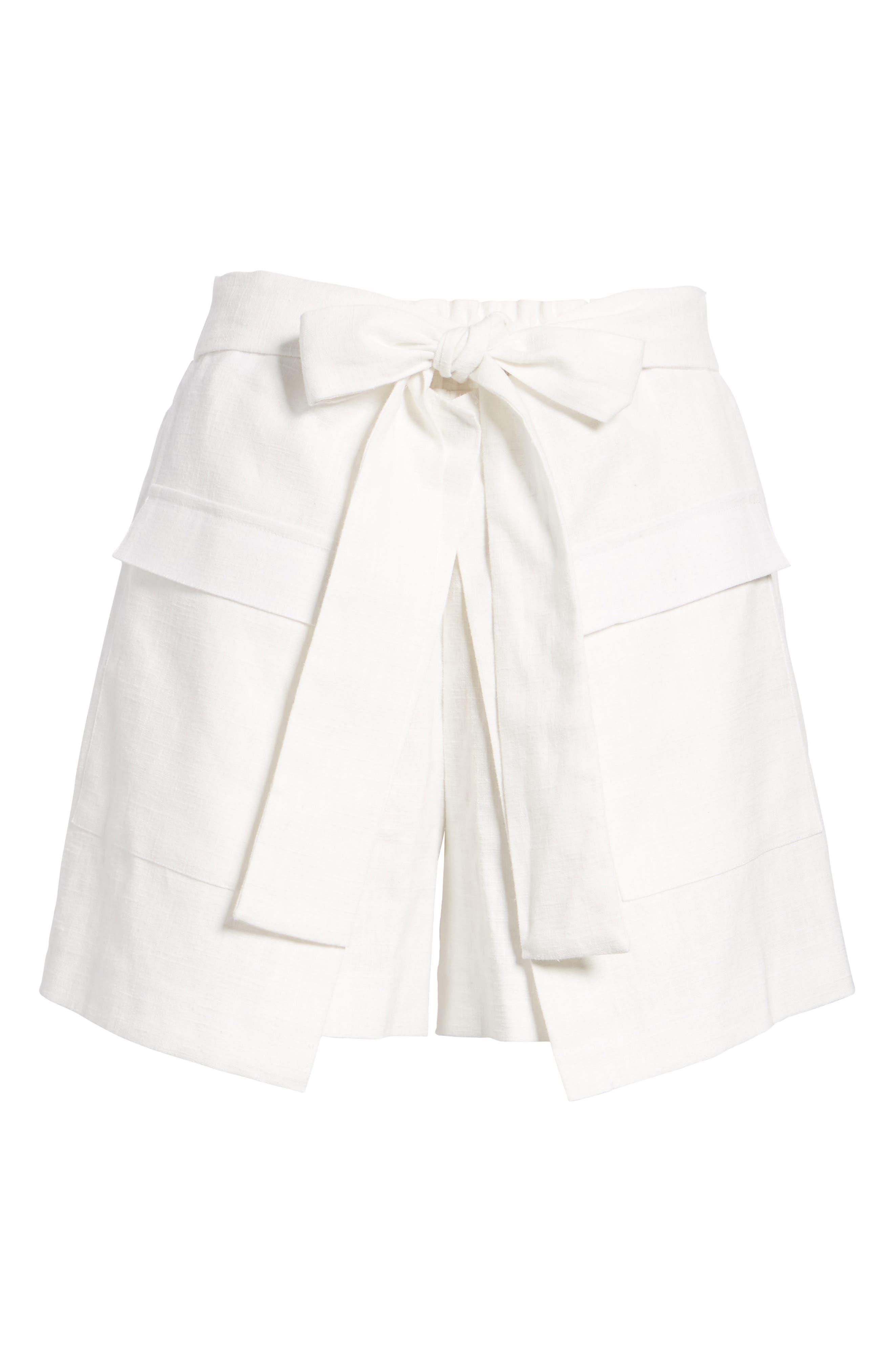 Tie Front Linen & Cotton Skort,                             Alternate thumbnail 6, color,                             100