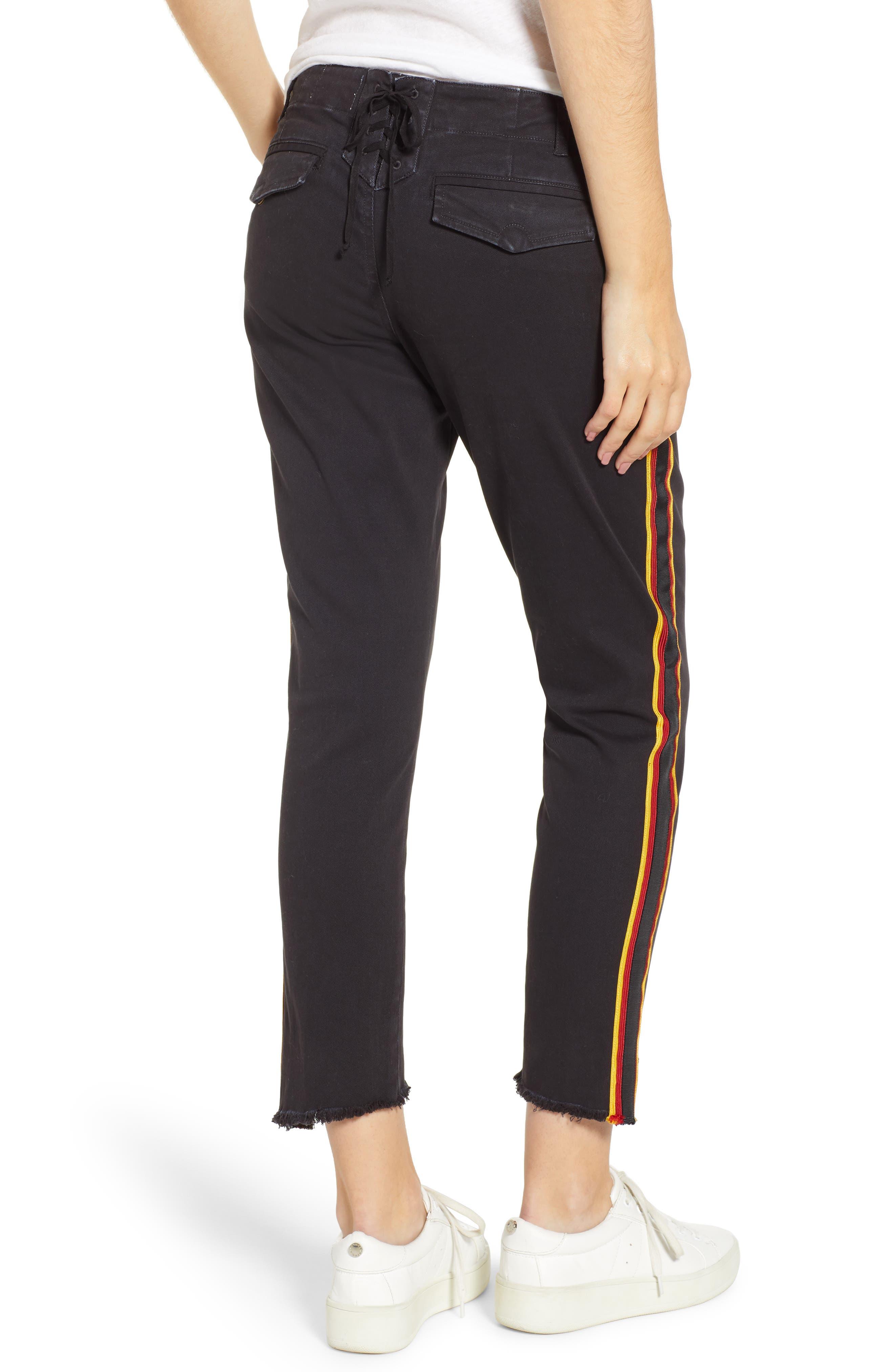 Uniform Stripe Step Hem Pants,                             Alternate thumbnail 2, color,                             VINTAGE BLACK