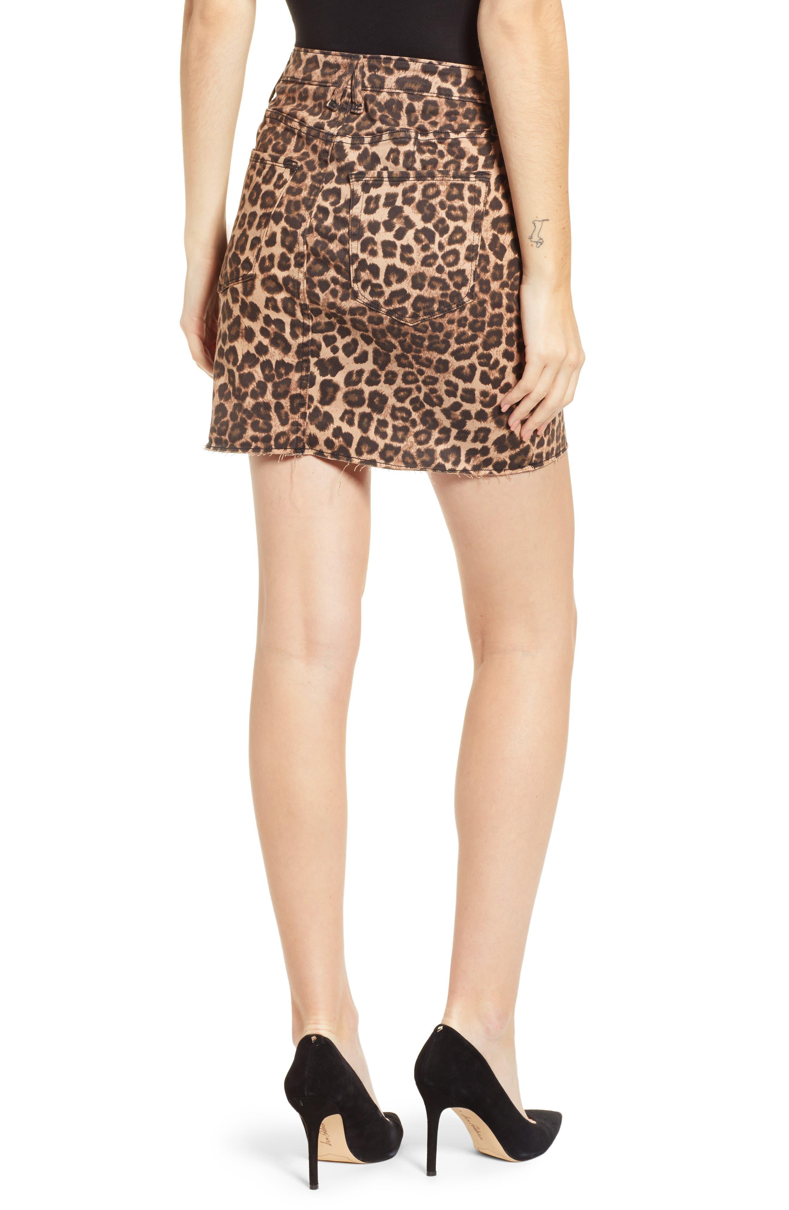 GOOD AMERICAN,                             Cheetah Print Raw Edge Miniskirt,                             Alternate thumbnail 2, color,                             CHEETAH001