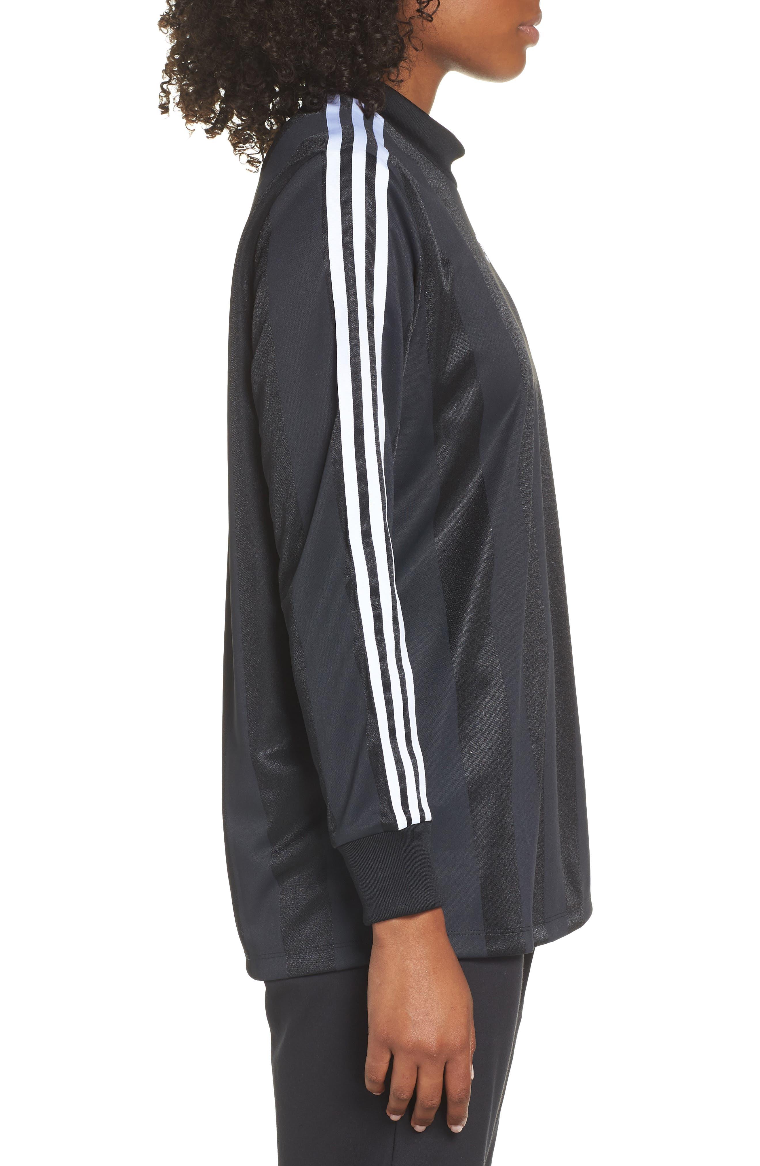 adidas 3-Stripes Long Sleeve Tee,                             Alternate thumbnail 3, color,                             001