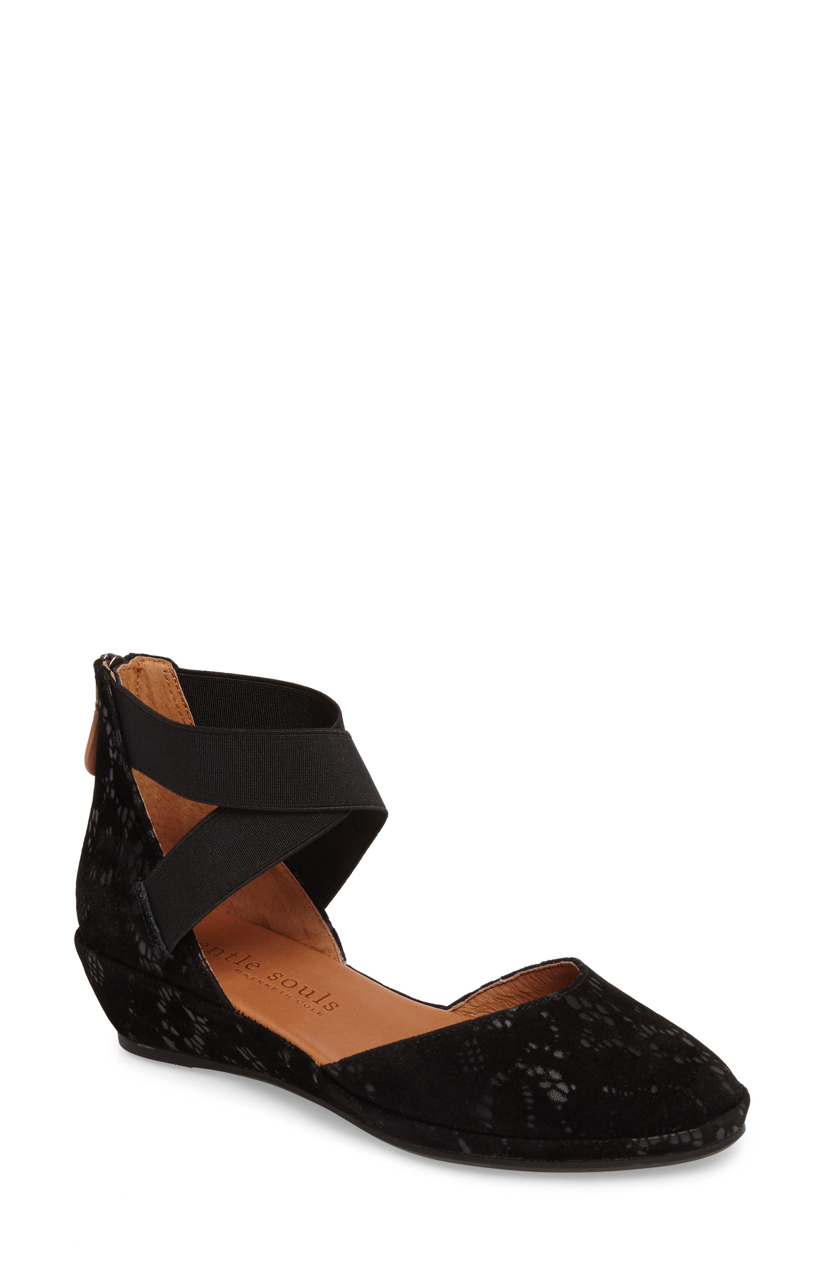 by Kenneth Cole Noa Cross Strap Wedge,                             Main thumbnail 1, color,                             BLACK TEXTURED LEATHER