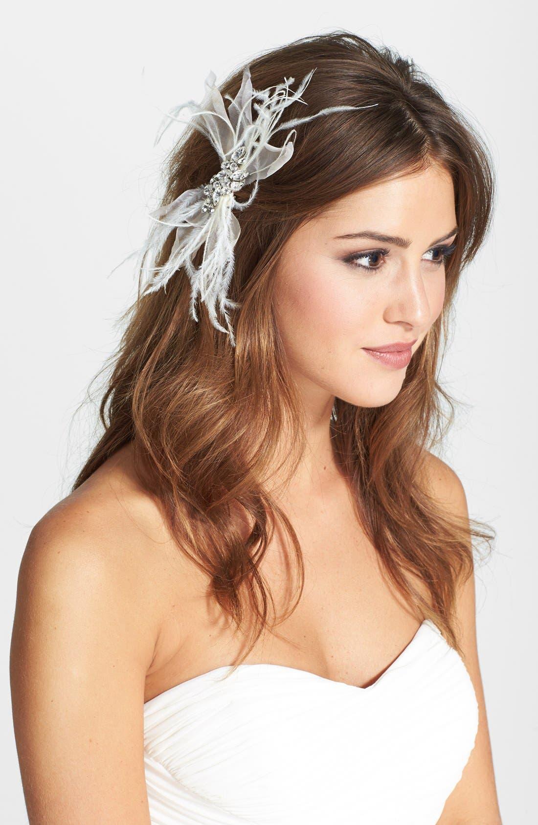 'Quinn' Silk & Feather Hair Clip,                         Main,                         color, 900