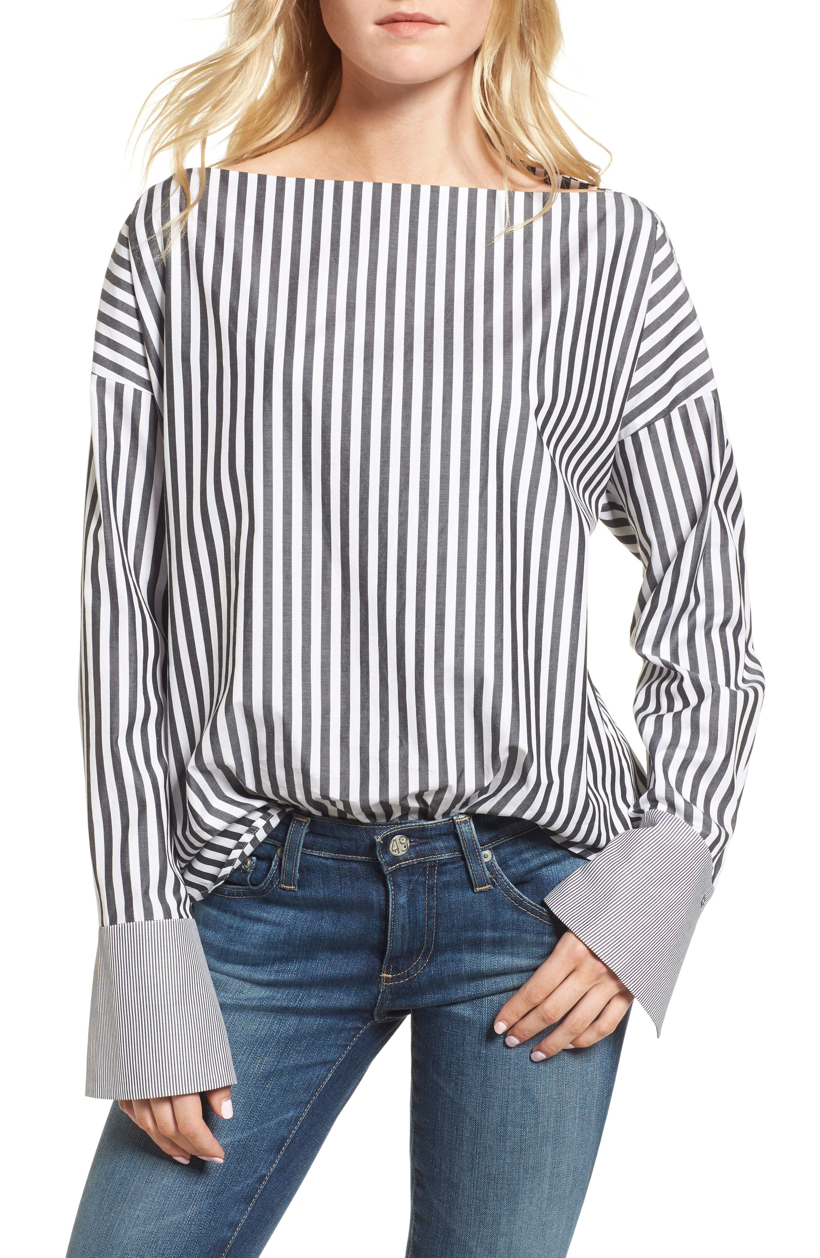 Famke Stripe Blouse,                         Main,                         color, 015