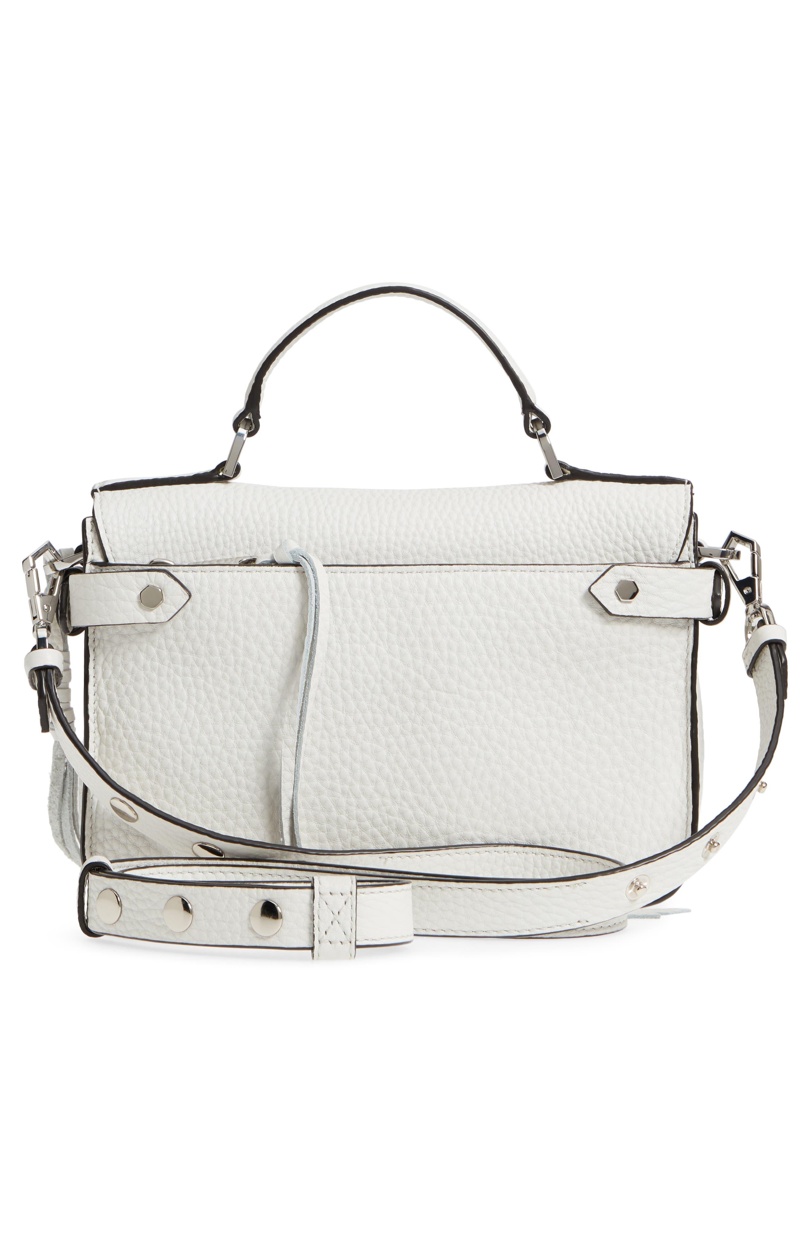 'Small Darren' Leather Messenger Bag,                             Alternate thumbnail 3, color,                             BLANCO
