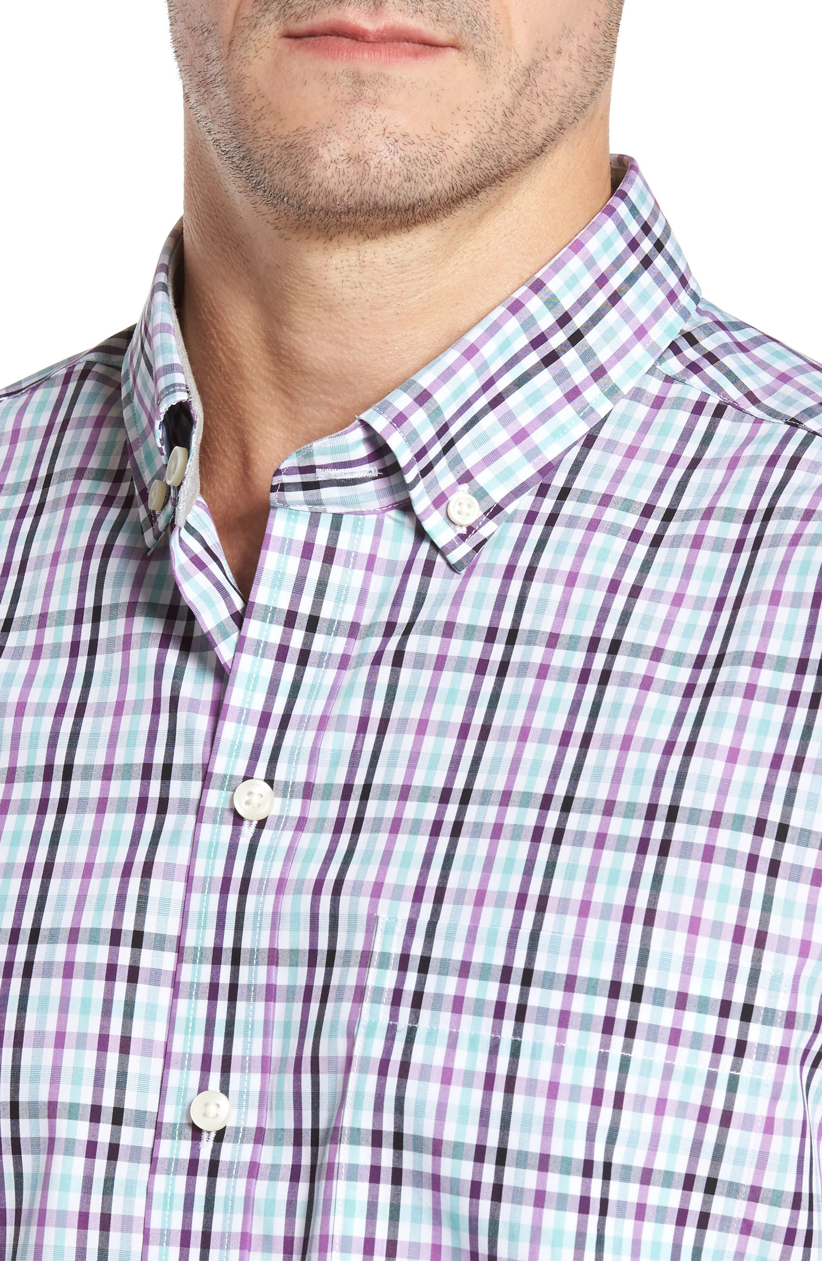 Irving Non-Iron Plaid Sport Shirt,                             Alternate thumbnail 4, color,                             522