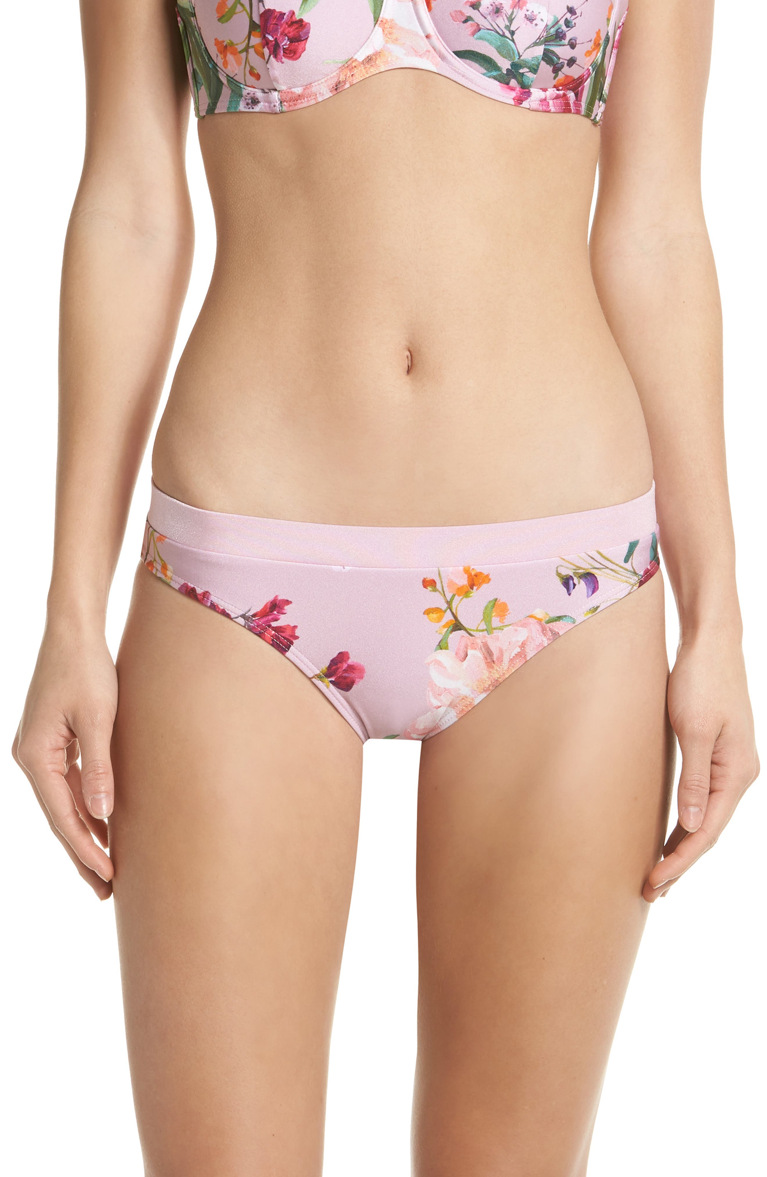 Serenity Floral Bikini Bottoms,                         Main,                         color, PALE PINK