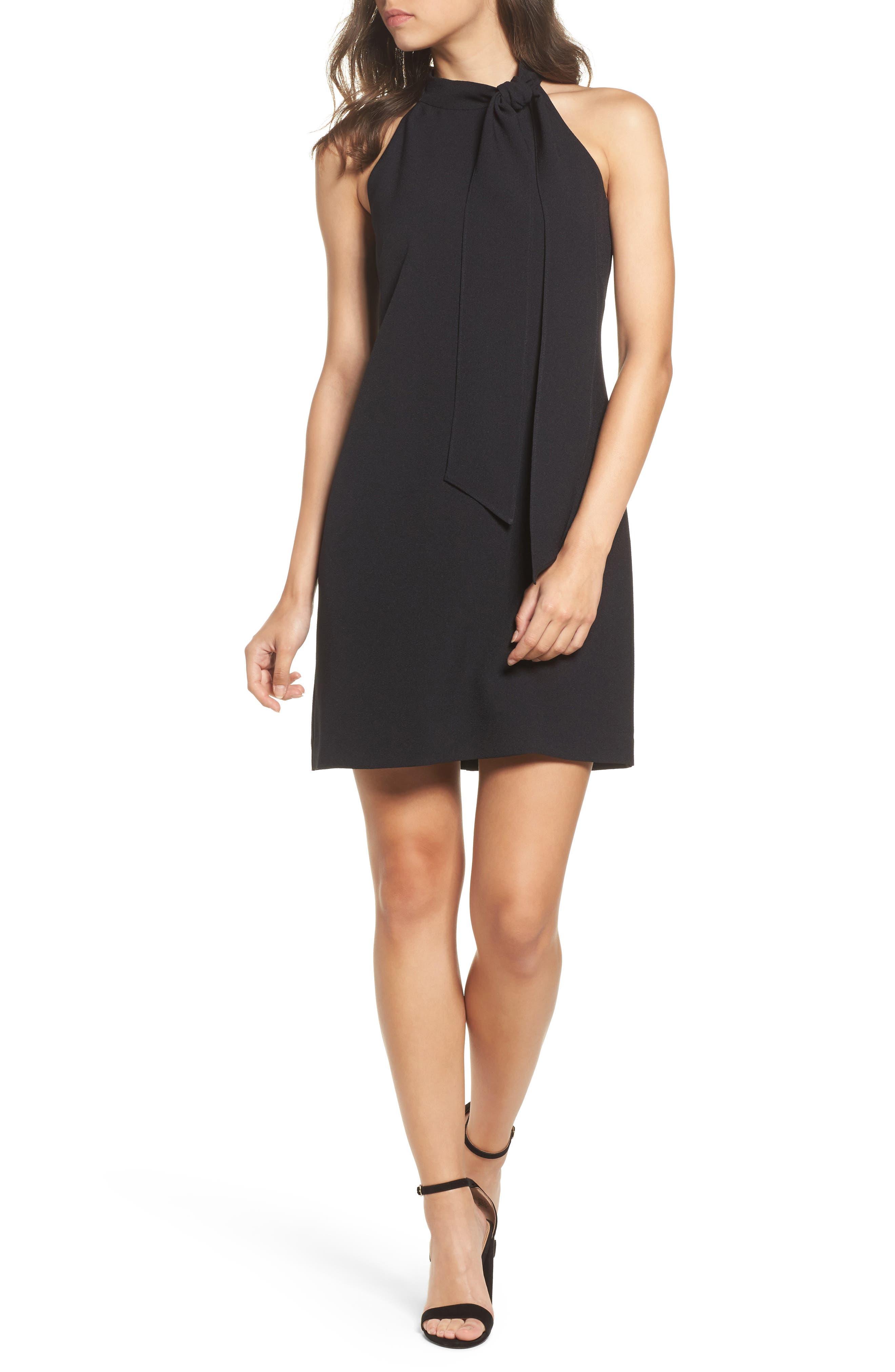A-Line Dress,                             Alternate thumbnail 6, color,                             BLACK