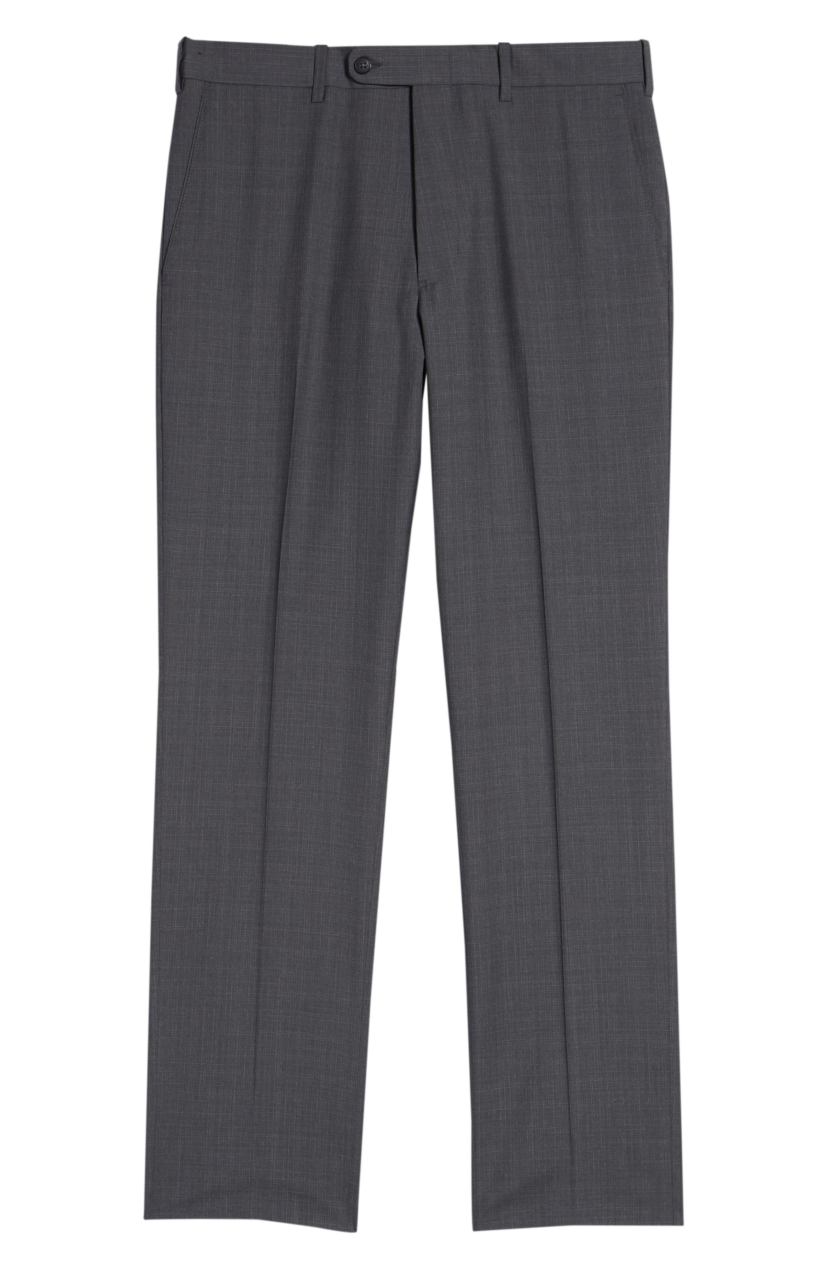 Torino Traditional Fit Flat Front Plaid Wool Trousers,                             Alternate thumbnail 6, color,                             GREY