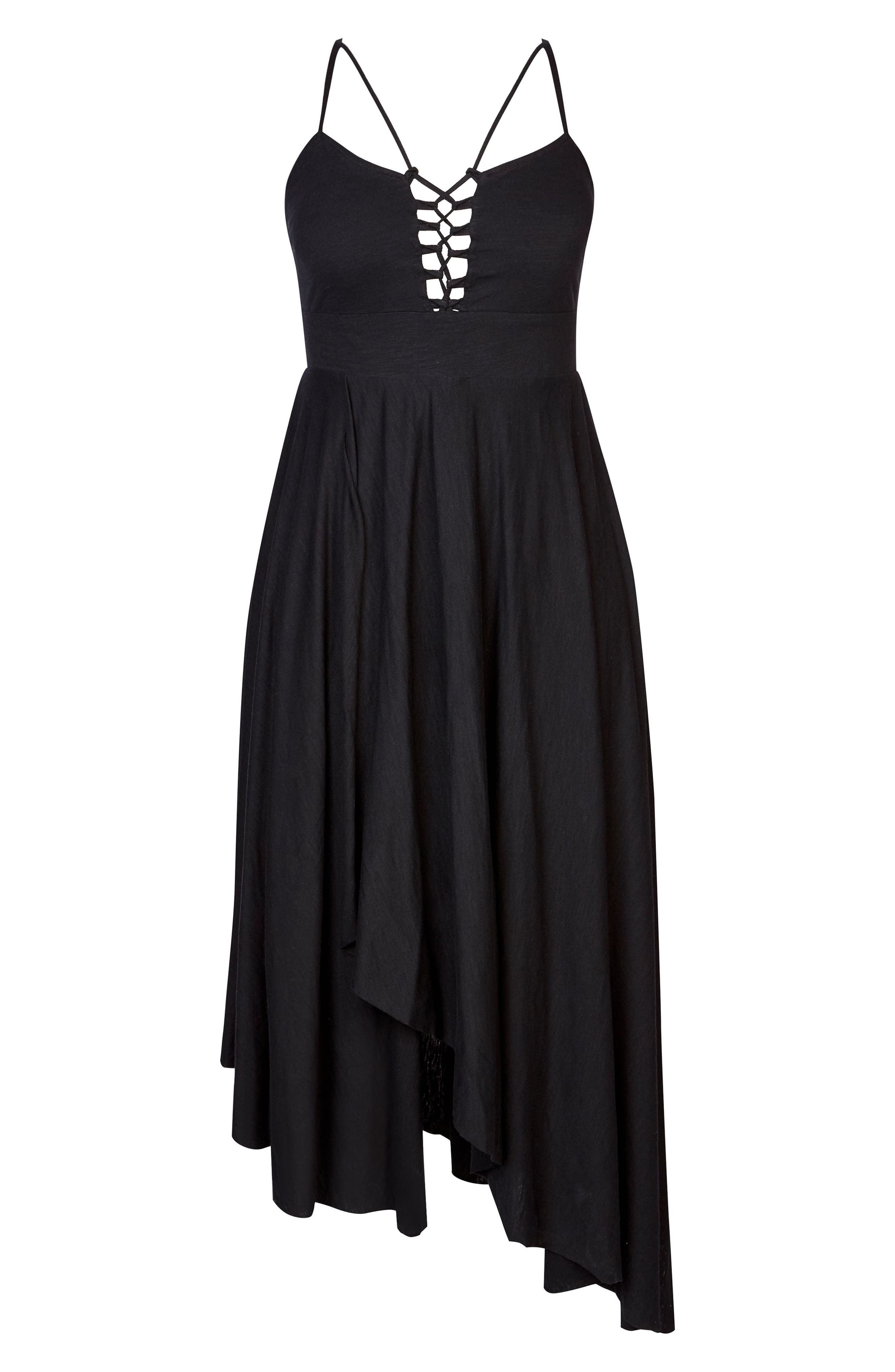 Strappy Maxi Dress,                             Alternate thumbnail 3, color,                             BLACK