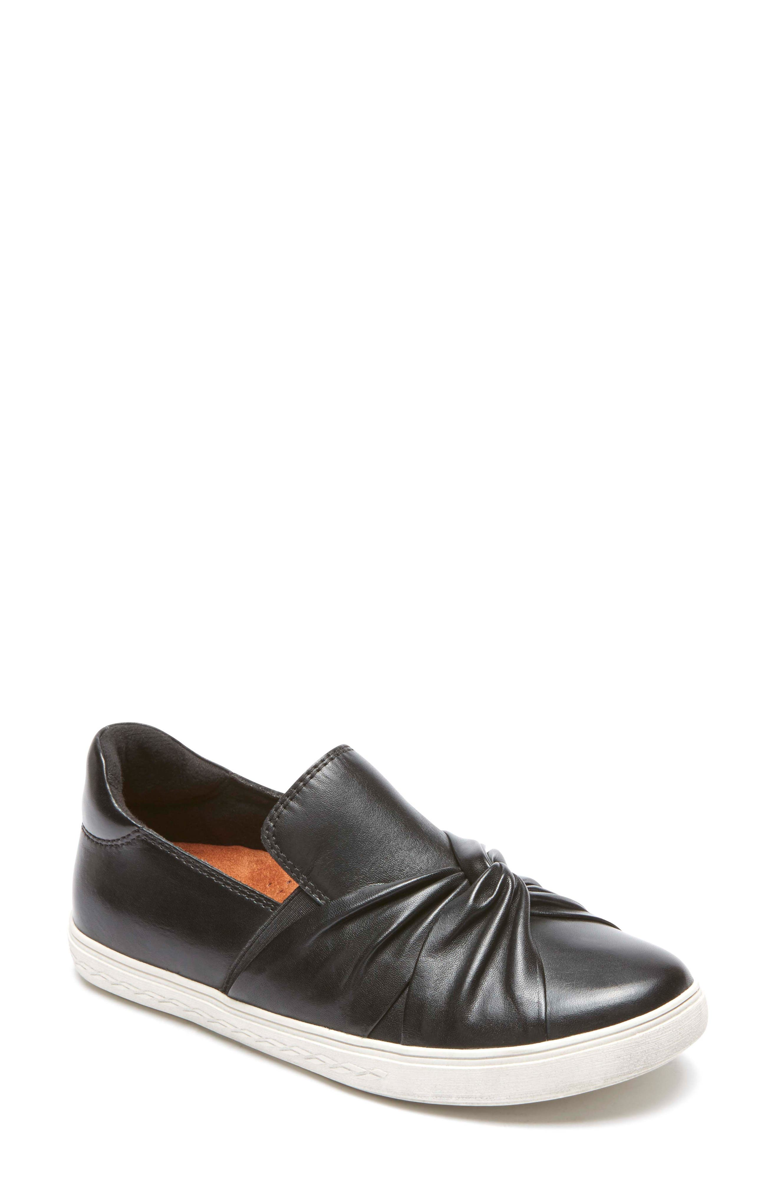 Willa Bow Slip-On,                             Main thumbnail 1, color,                             BLACK LEATHER
