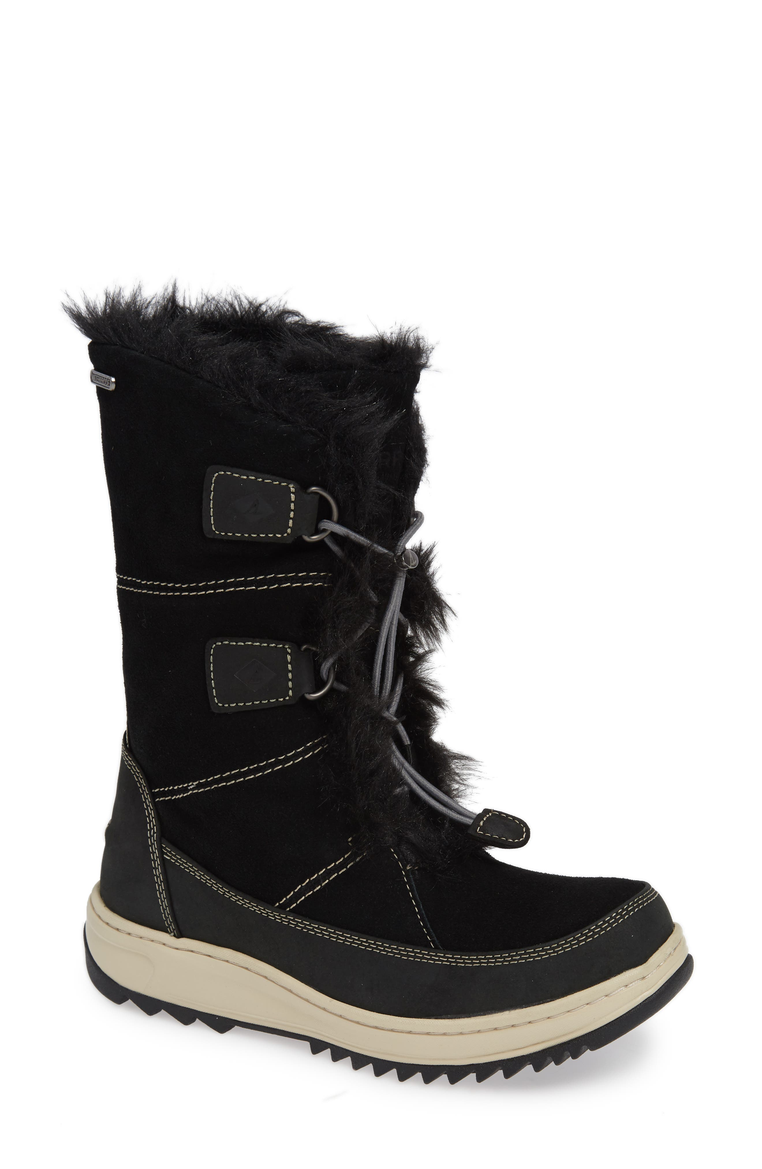 SPERRY,                             Powder Valley Vibram<sup>®</sup> Arctic Grip Waterproof Boot,                             Main thumbnail 1, color,                             001