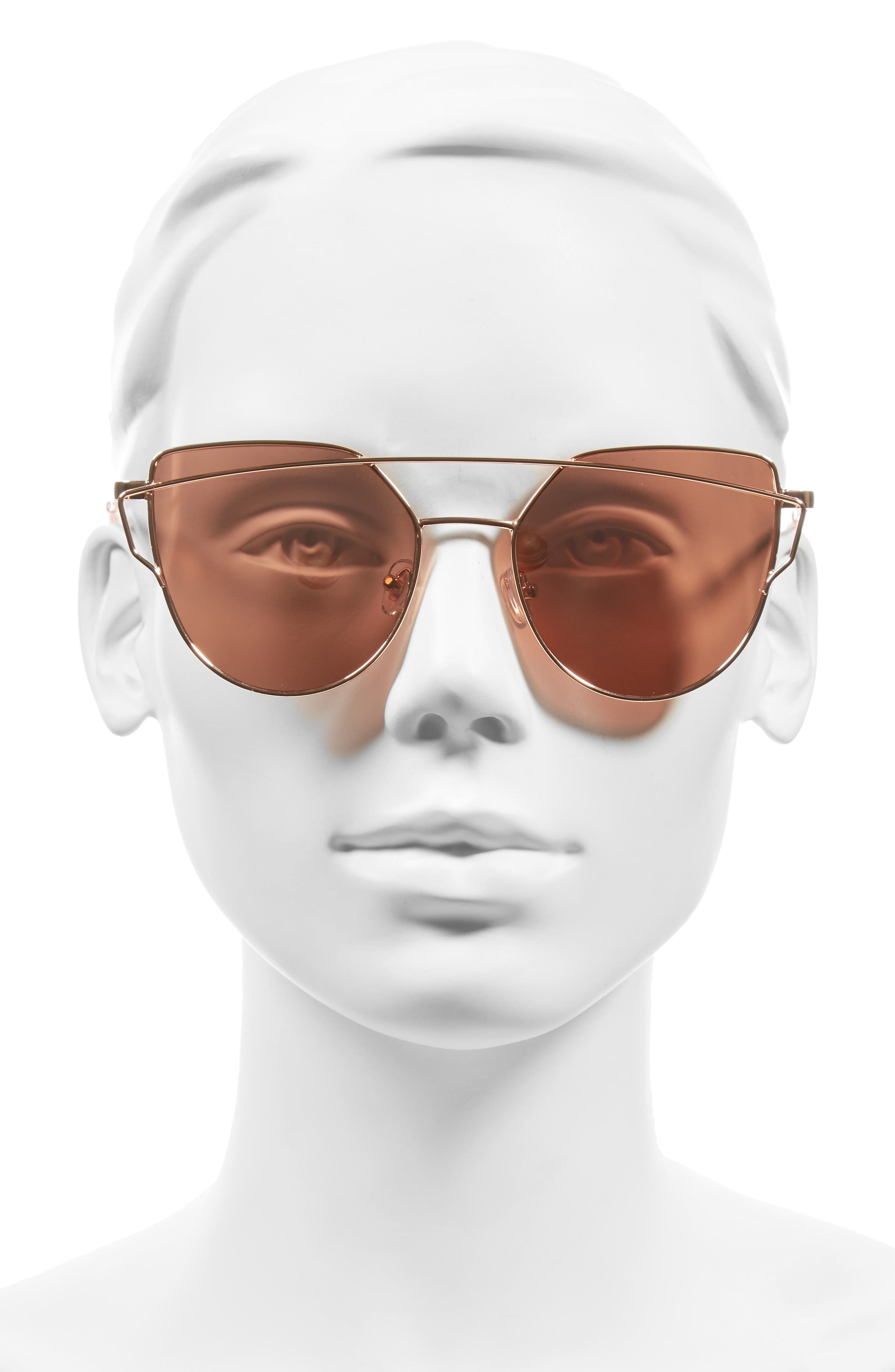 51mm Thin Brow Angular Aviator Sunglasses,                             Alternate thumbnail 21, color,
