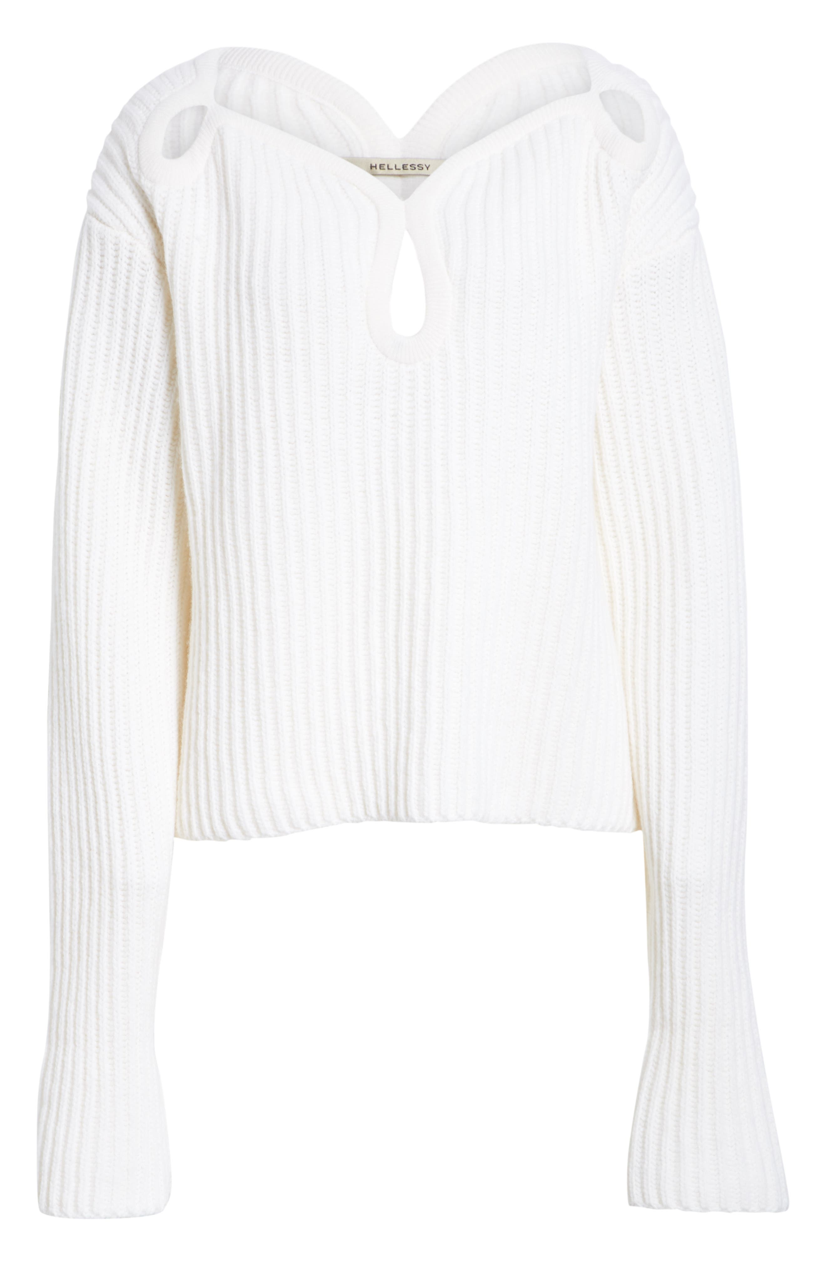 Keyhole Shoulder Merino Wool Sweater,                             Alternate thumbnail 6, color,                             ECRU