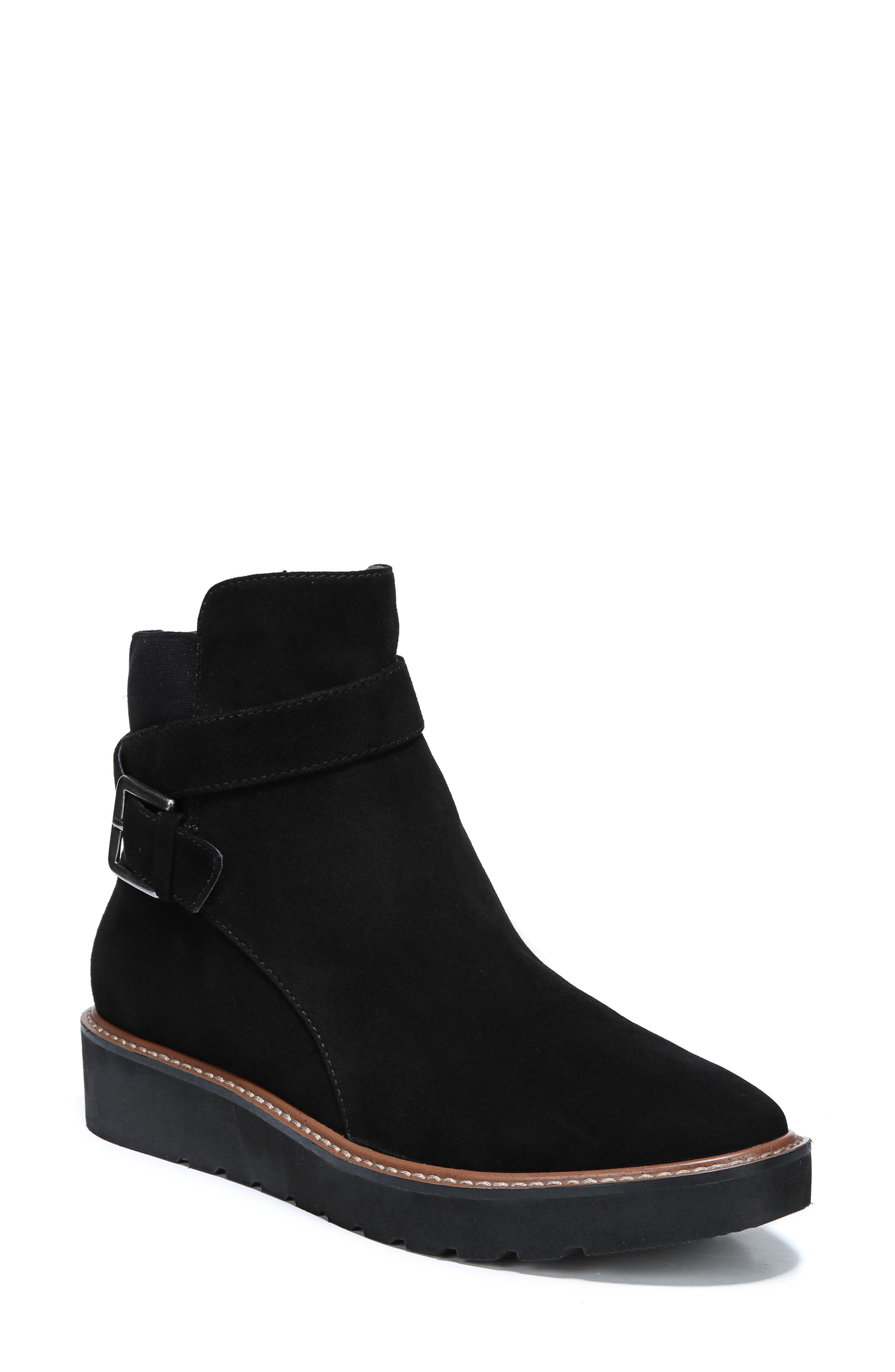 Aster Bootie,                             Main thumbnail 1, color,                             BLACK SUEDE