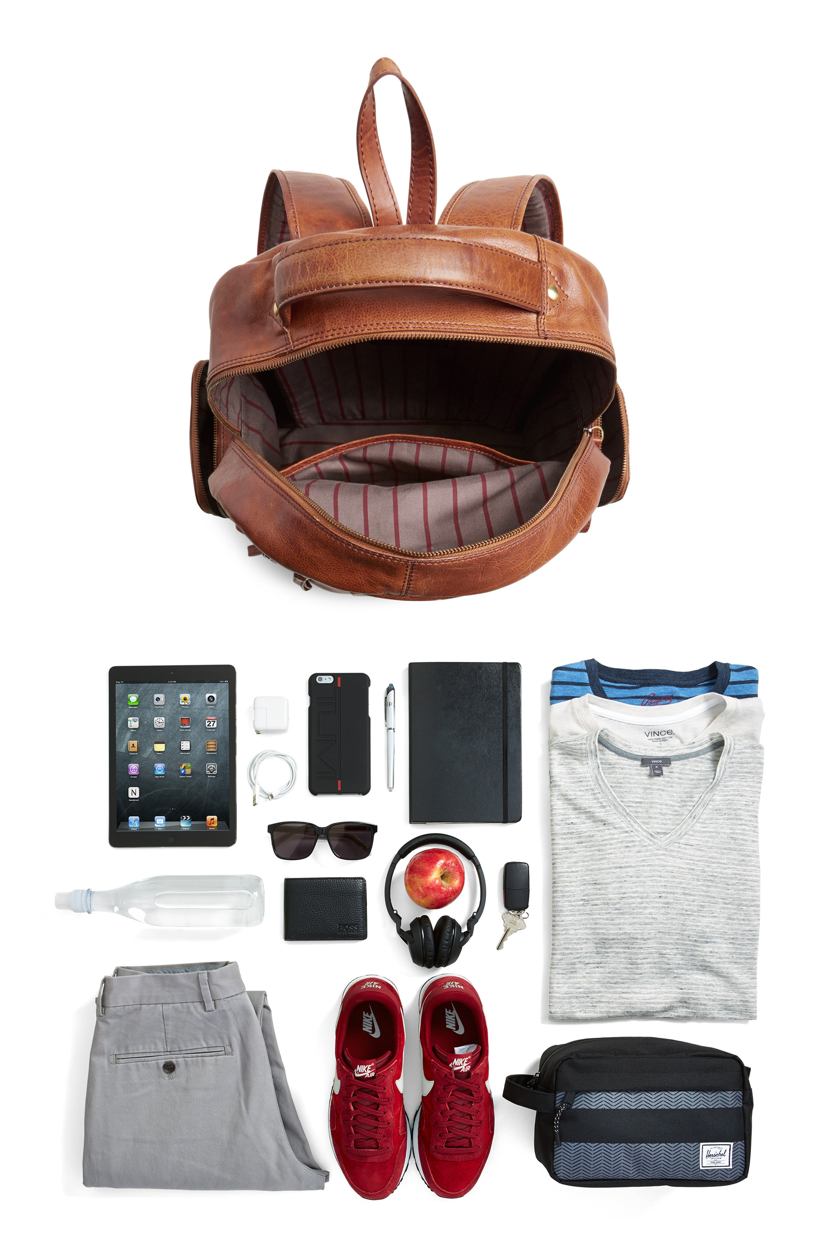 'Rugged' Leather Backpack,                             Alternate thumbnail 4, color,                             202