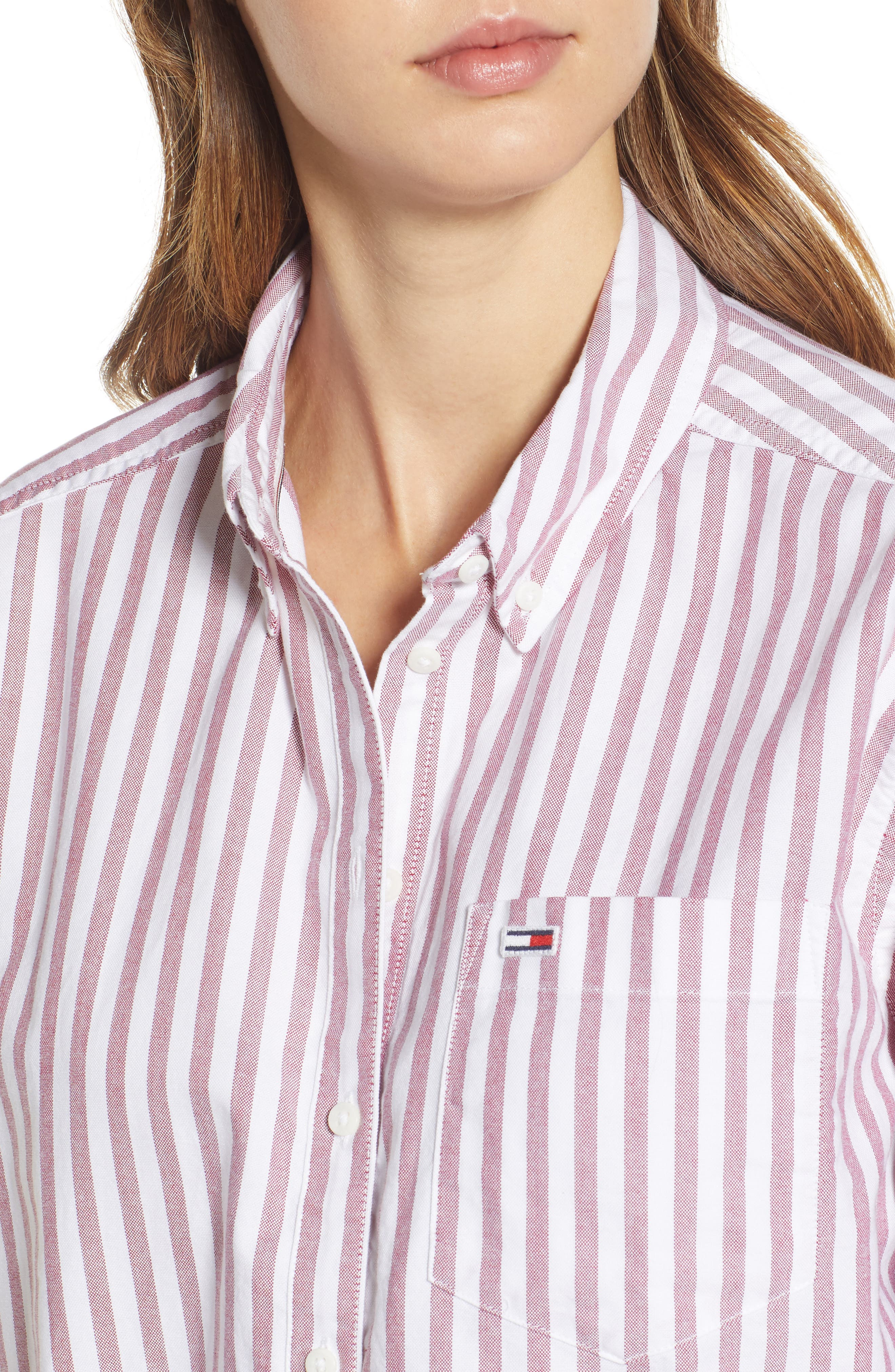 TJW Classics Stripe Shirt,                             Alternate thumbnail 4, color,                             RUMBA RED / BRIGHT WHITE