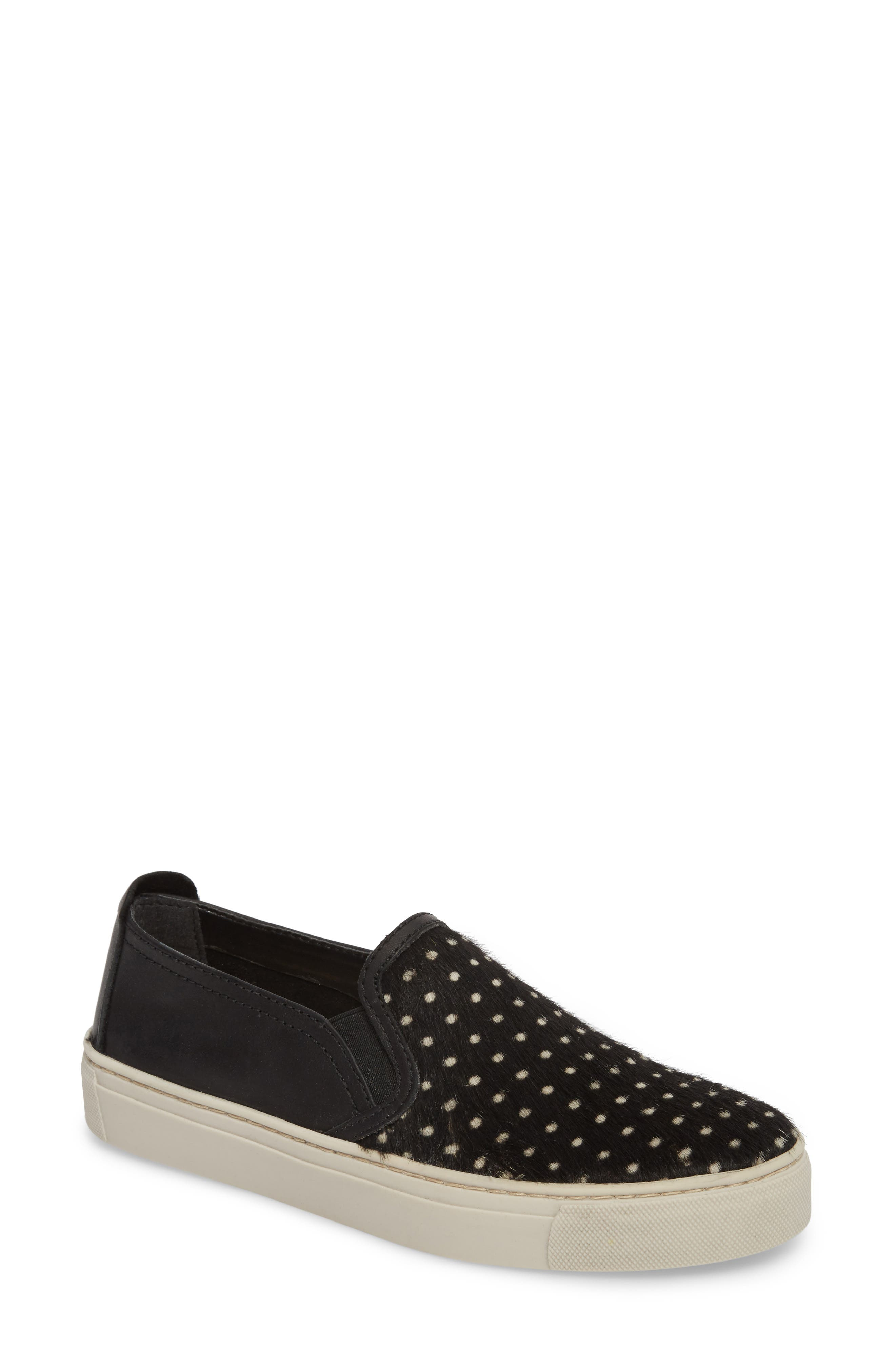Sneak About Slip-On Sneaker,                             Main thumbnail 1, color,                             BLACK POLKA DOT LEATHER