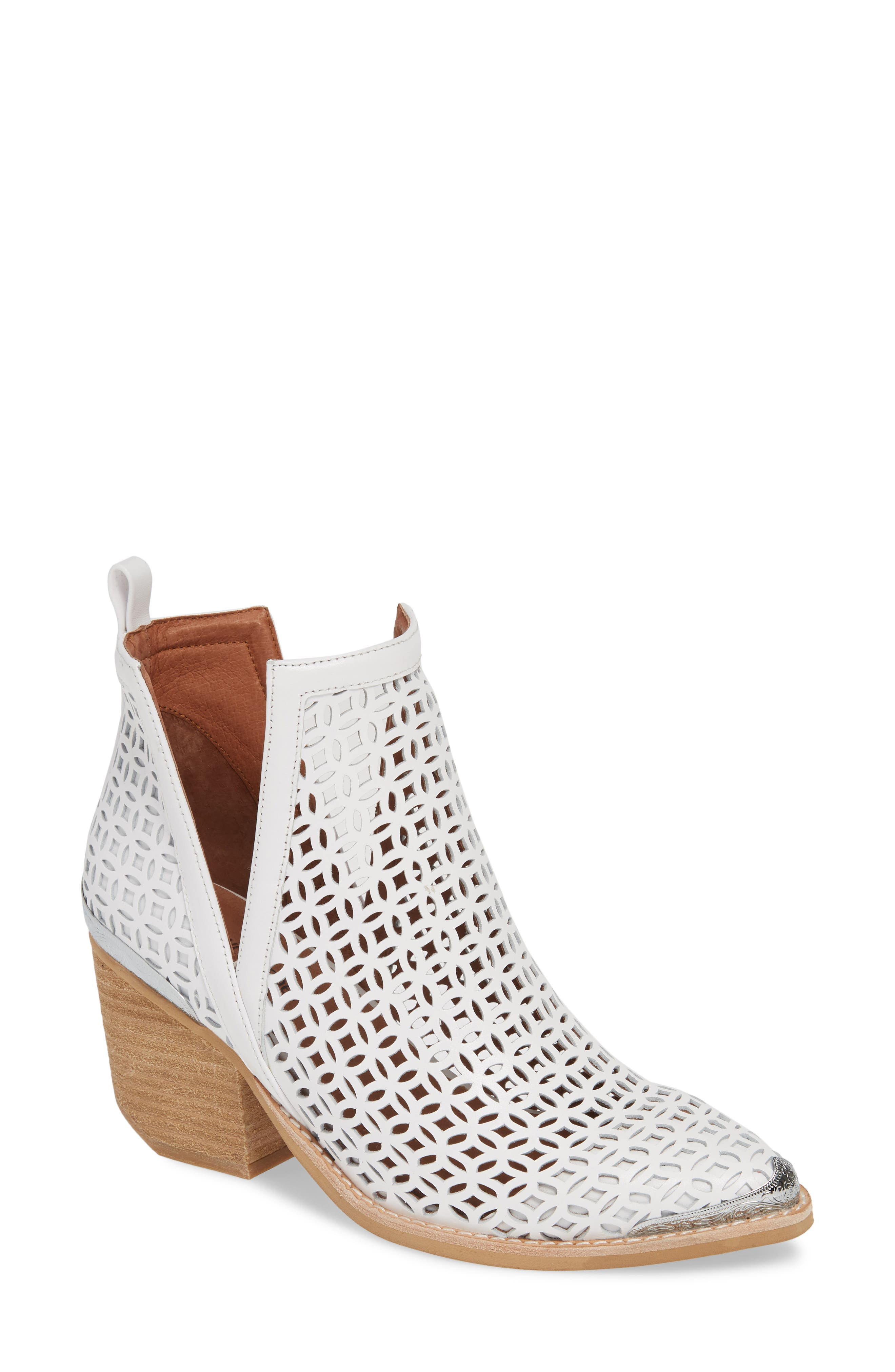 Jeffrey Campbell Cromwell-C2 Perforated Bootie, White