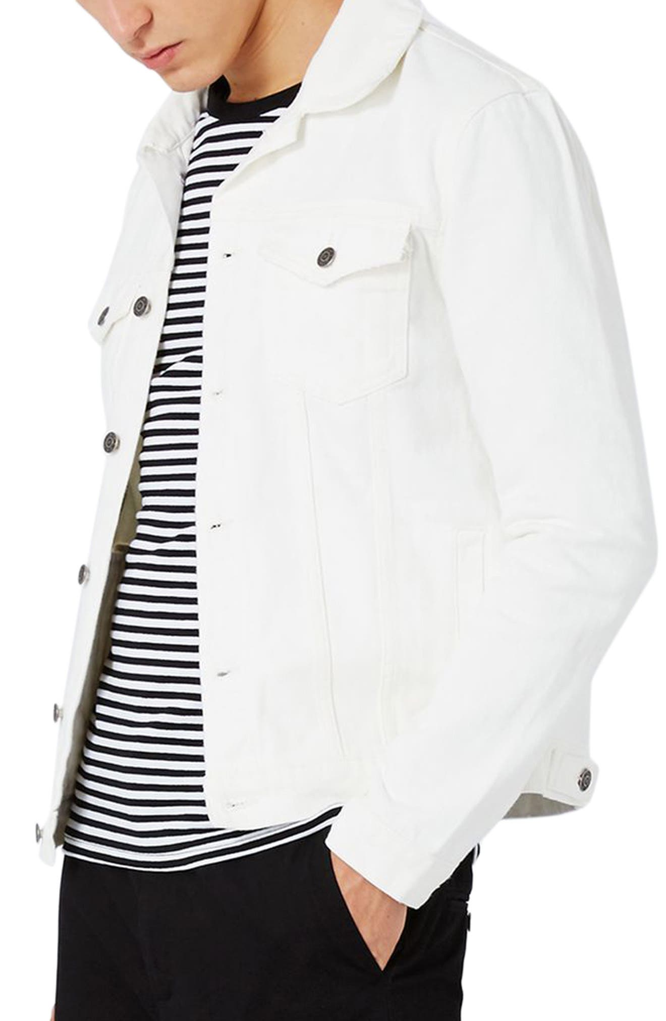 White Denim Western Jacket,                         Main,                         color, 100