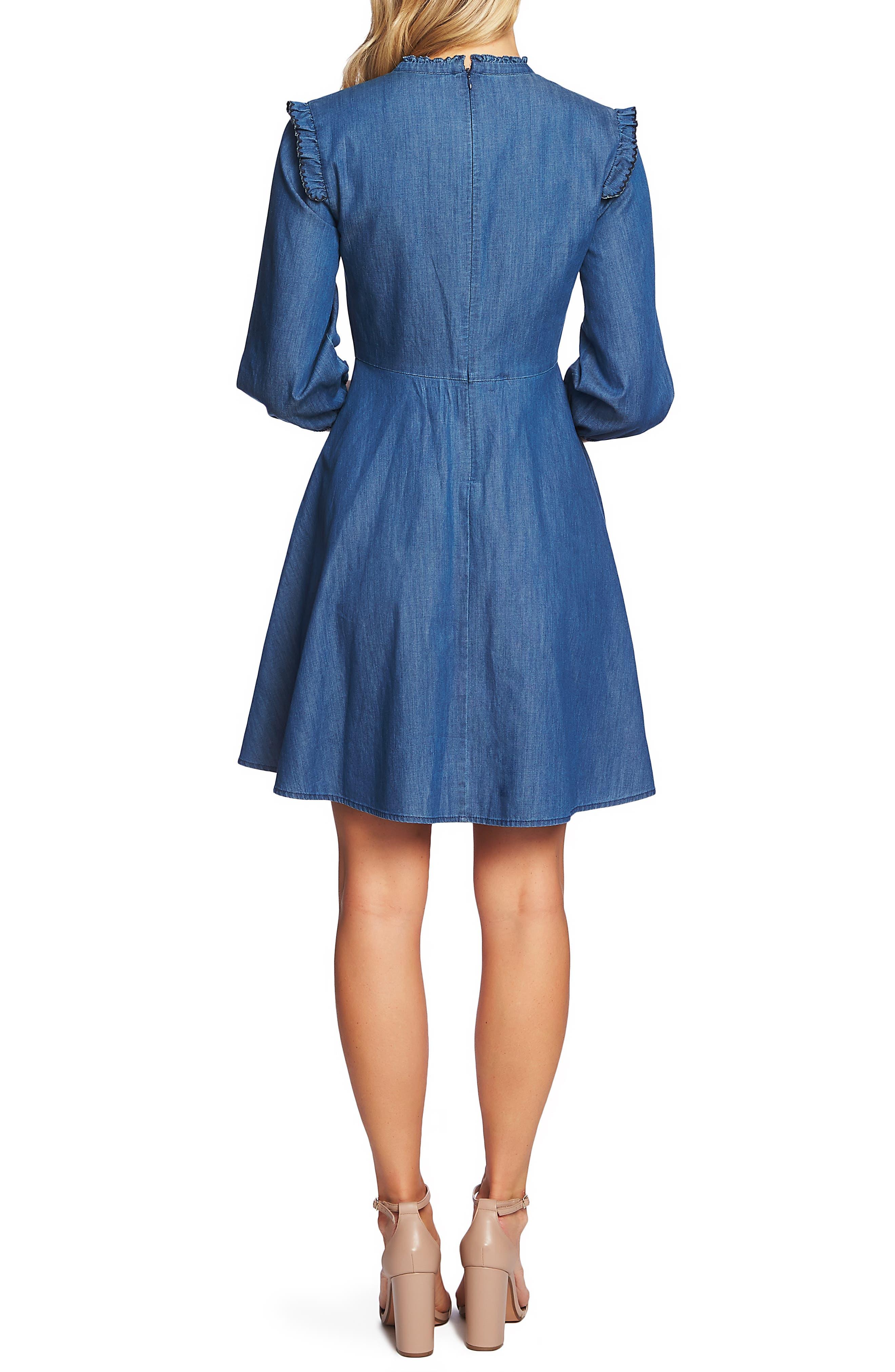 Pintuck Ruffle Denim Dress,                             Alternate thumbnail 2, color,                             AUTHENTIC