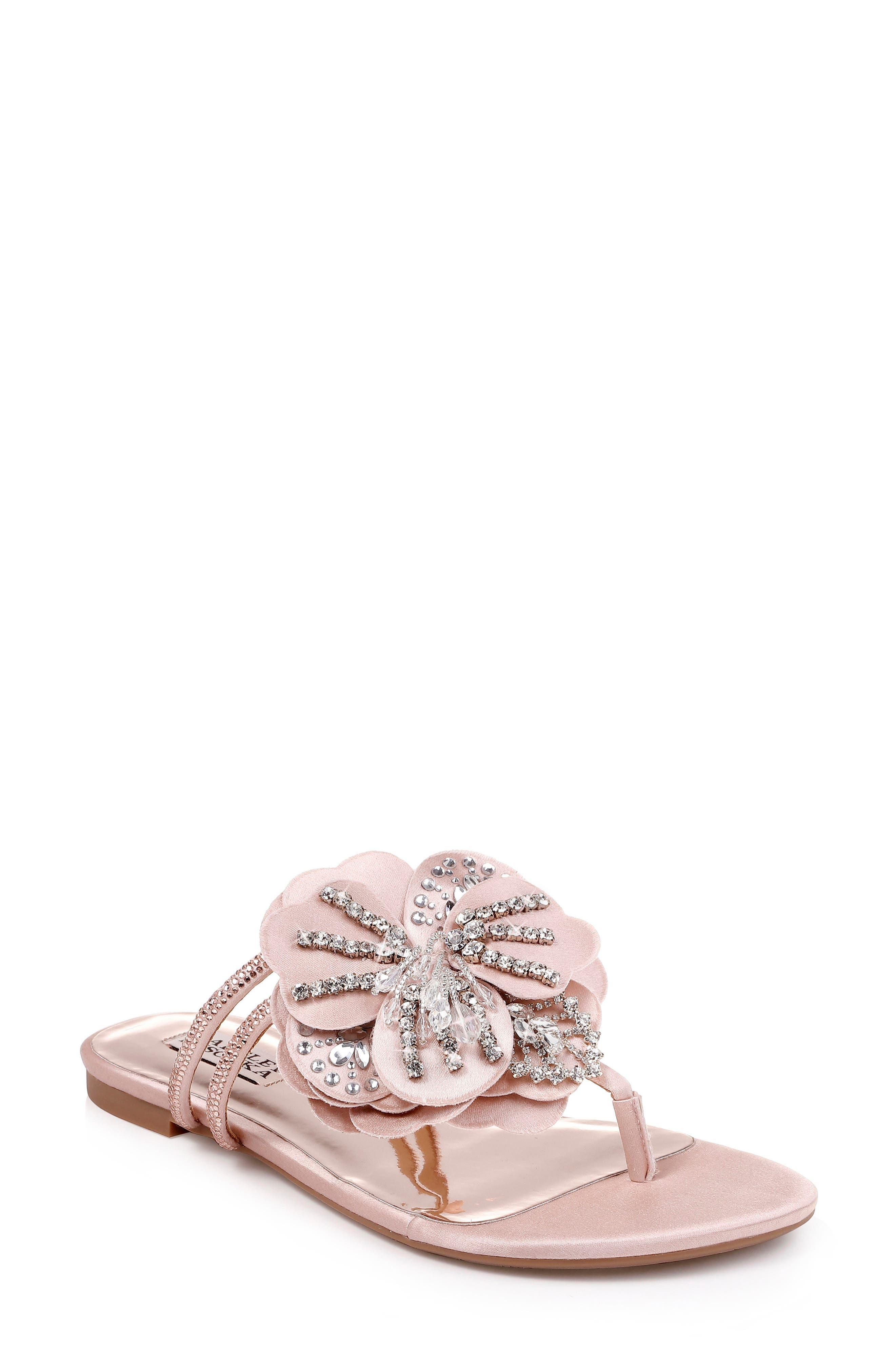 Badgley Mischka Laurie Embellished Slide Sandal,                             Main thumbnail 1, color,                             SOFT BLUSH SATIN