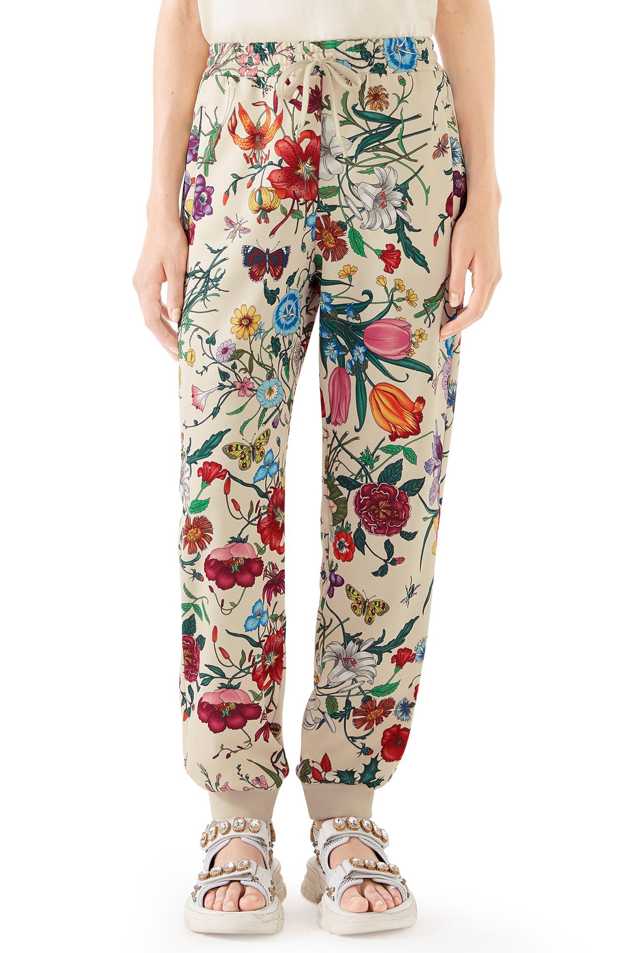 Floral Print Tech Jersey Track Pants,                         Main,                         color, 9381 IVORY/ MULTICOLOR