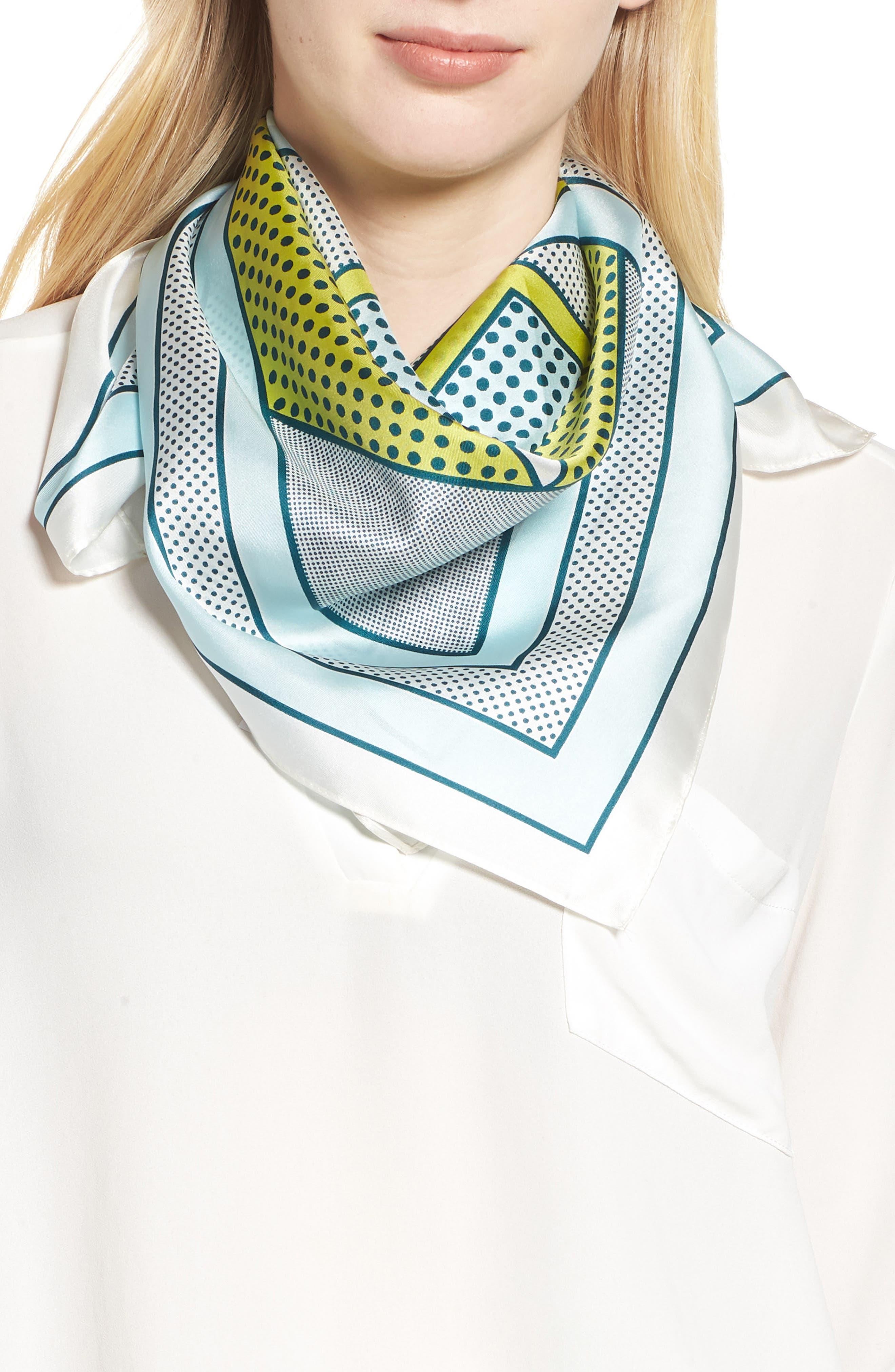 Bayside Geo Square Silk Scarf,                         Main,                         color, BEACH GLASS
