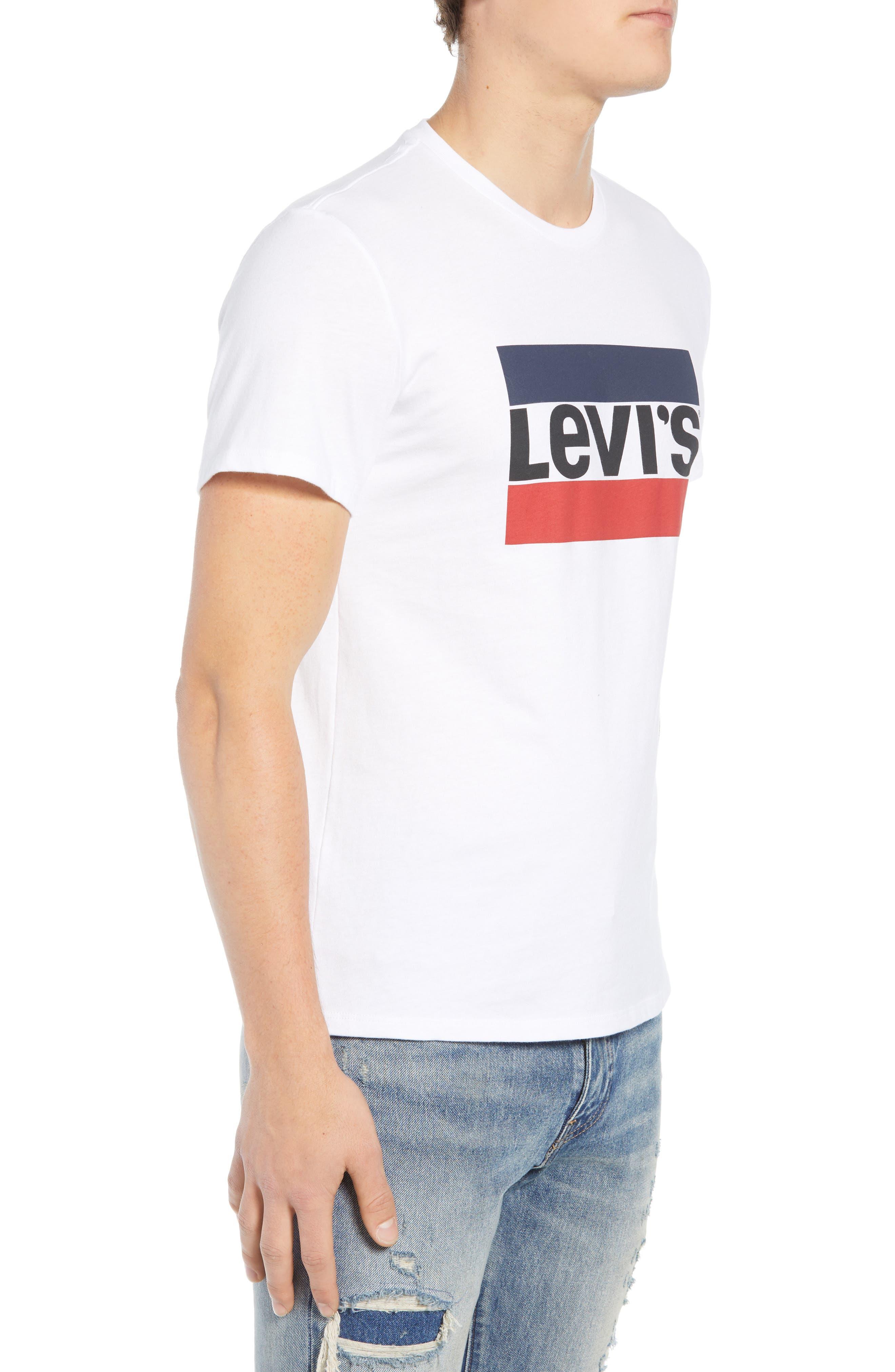 LEVI'S<SUP>®</SUP>,                             Logo T-Shirt,                             Alternate thumbnail 3, color,                             SPORTSWEAR LOGO WHITE