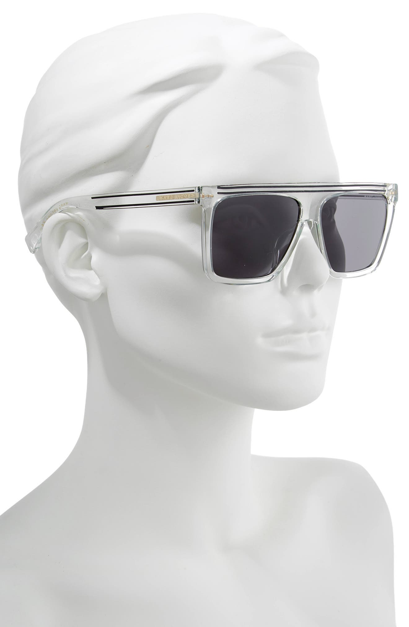 MARC JACOBS,                             59mm Flat Top Sunglasses,                             Alternate thumbnail 2, color,                             CRYSTAL