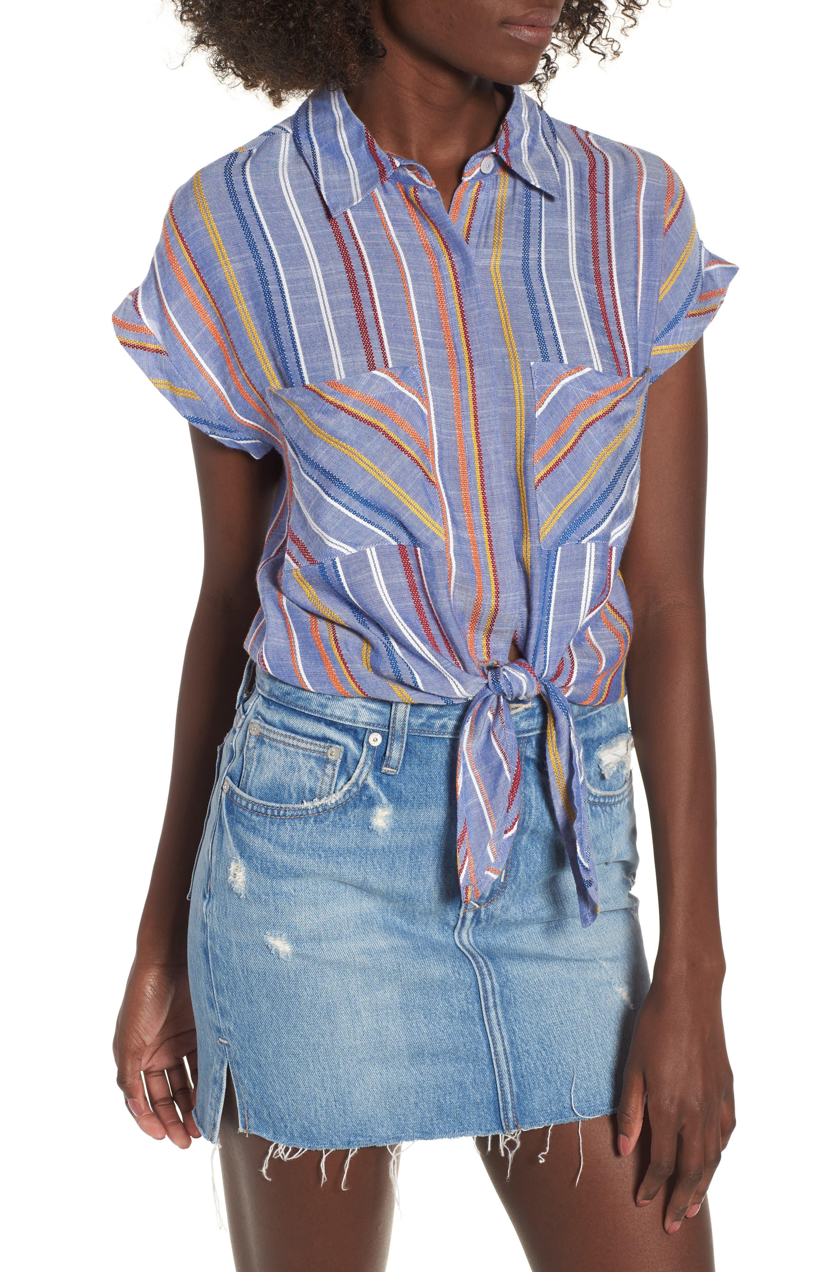 Stripe Tie Front Shirt,                         Main,                         color, 410