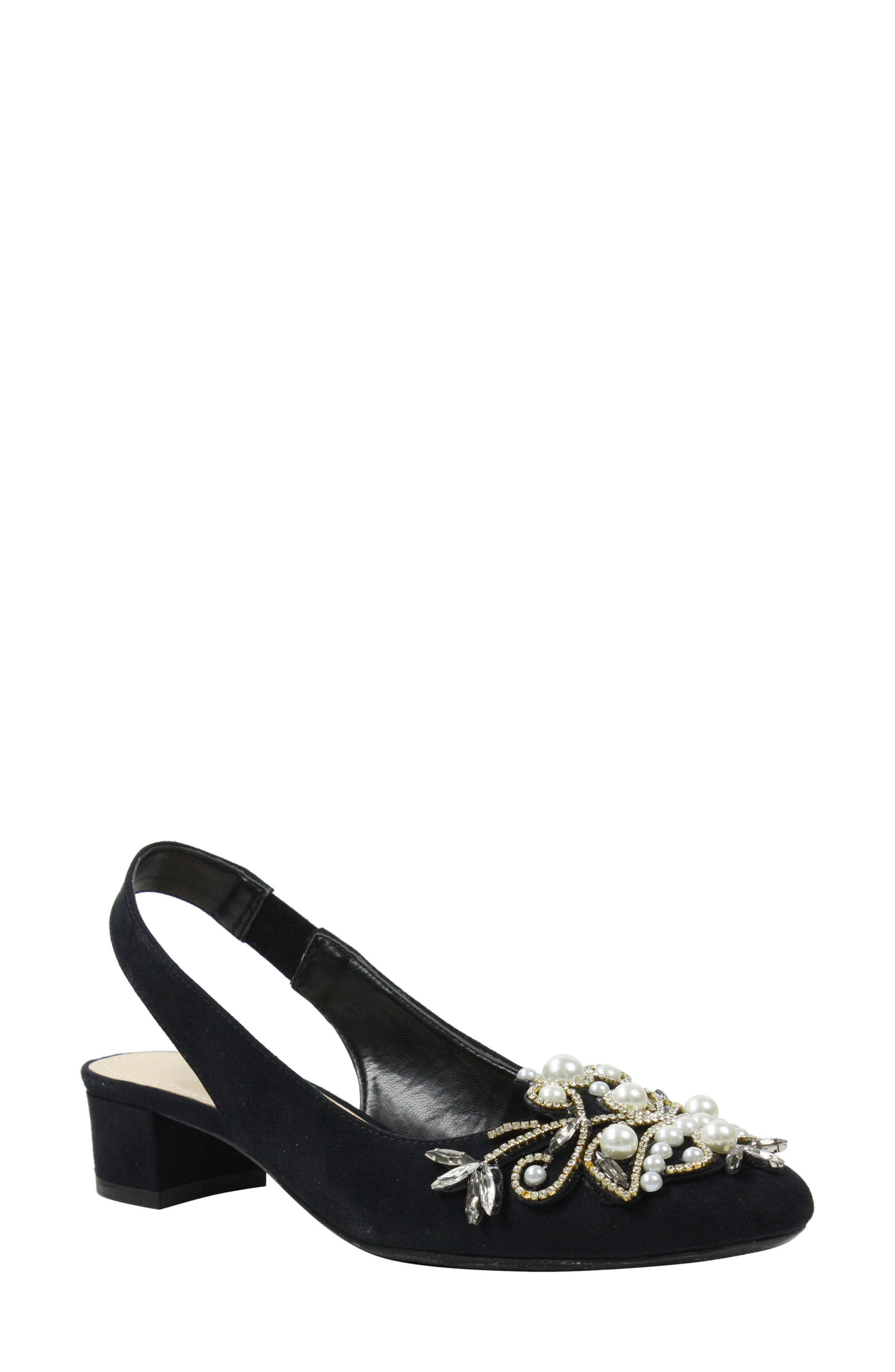 Delroy Embellished Slingback Pump,                             Main thumbnail 1, color,                             BLACK SUEDE/ WHITE PEARLS