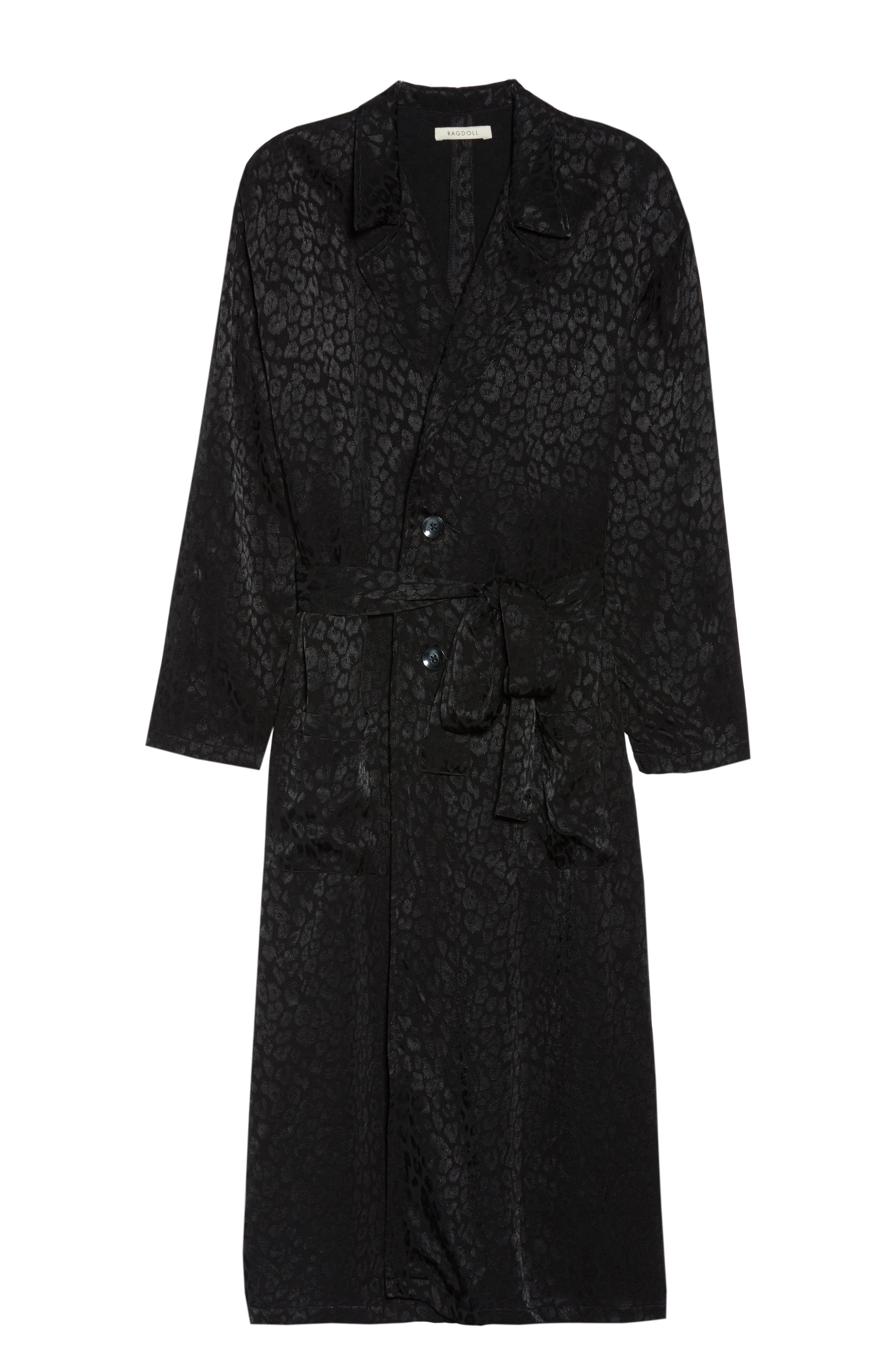 Leopard Trench Robe,                             Alternate thumbnail 6, color,                             BLACK