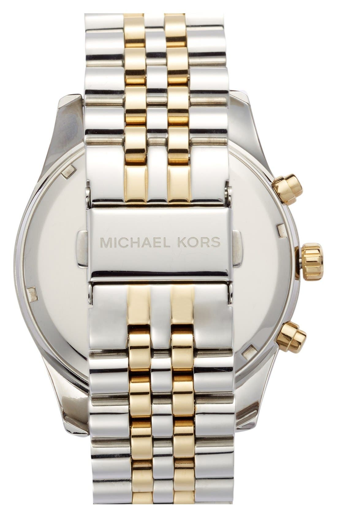 MICHAEL KORS,                             'Large Lexington' Chronograph Bracelet Watch, 45mm,                             Alternate thumbnail 4, color,                             GOLD/ BLACK