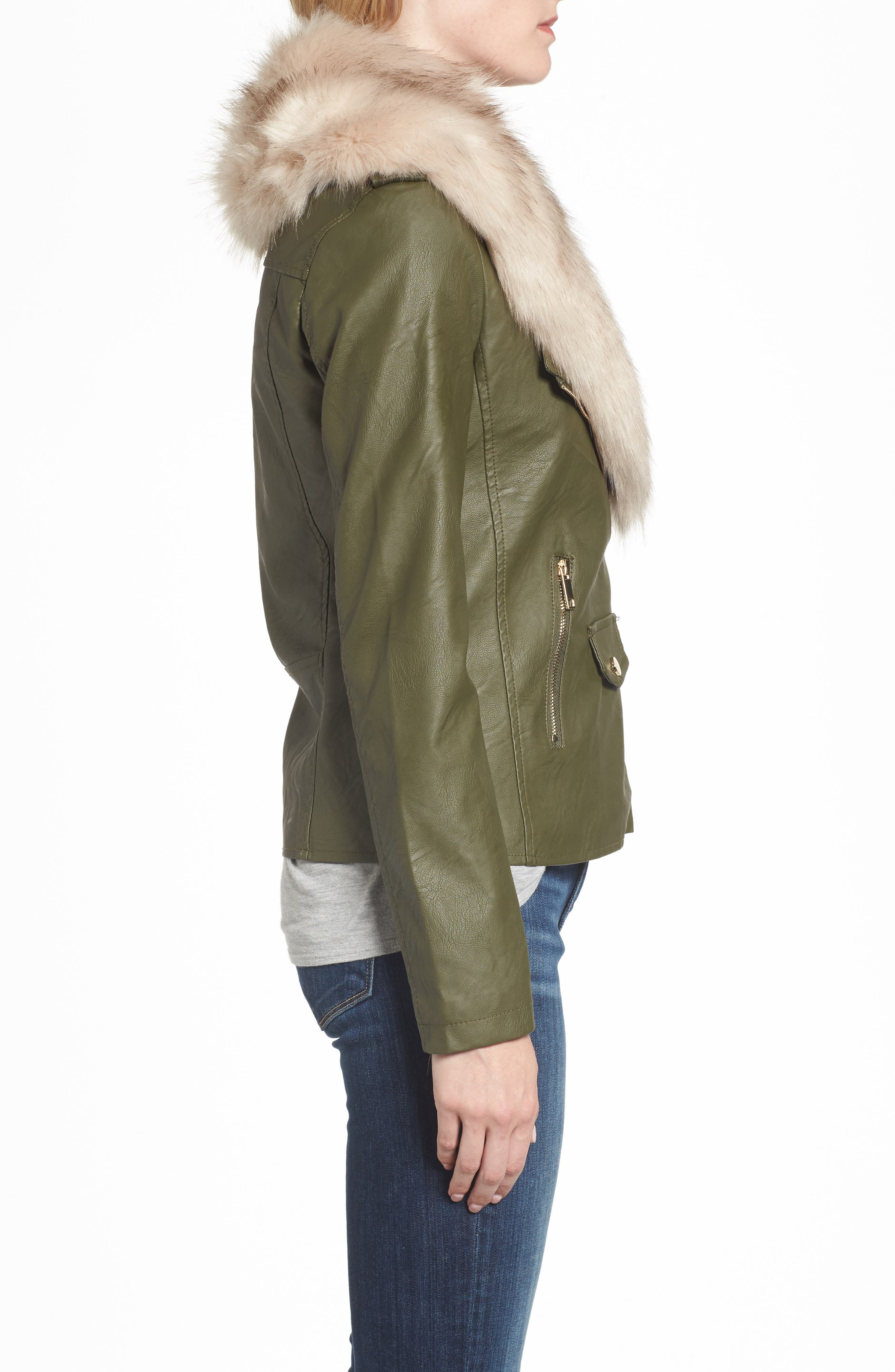 Faux Leather Jacket with Removable Faux Fur Collar,                             Alternate thumbnail 6, color,