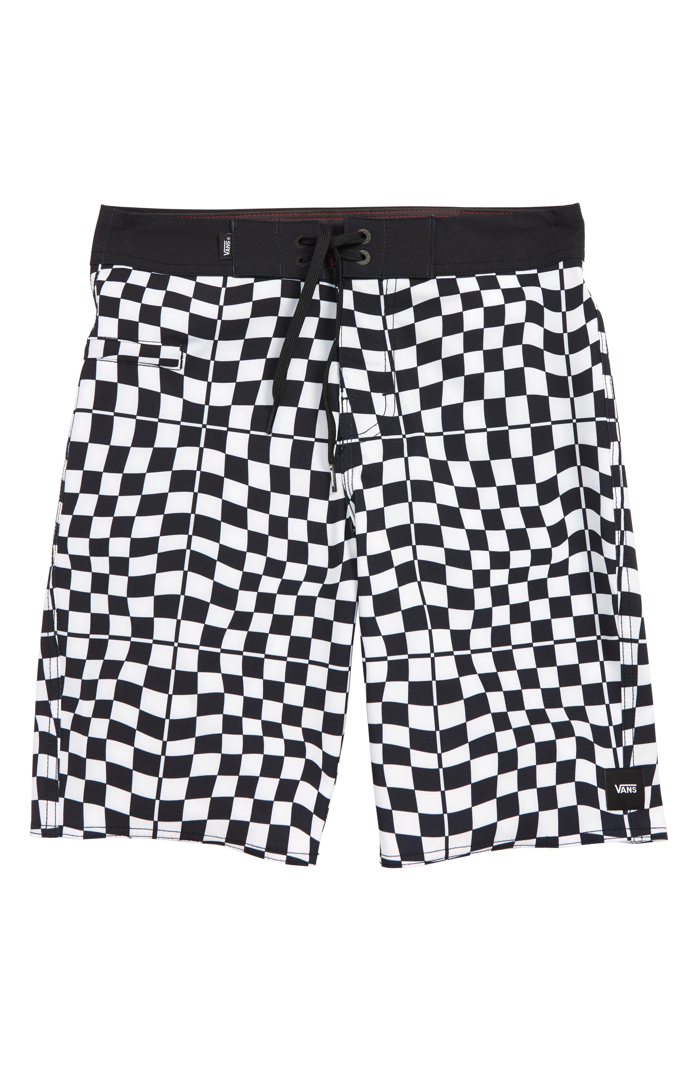 VANS,                             Mixed Check Board Shorts,                             Main thumbnail 1, color,                             WHITE