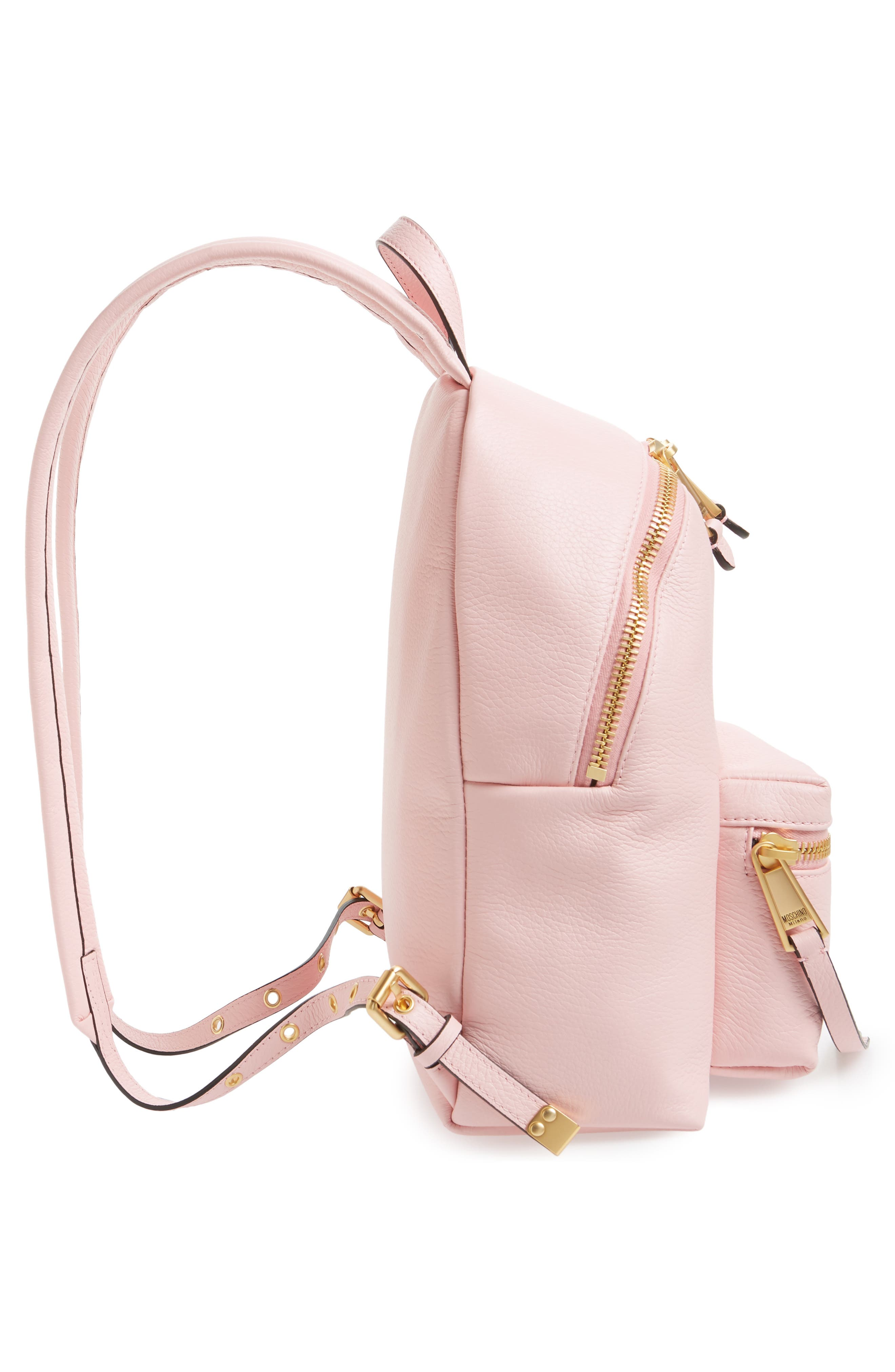 MOSCHINO,                             Logo Leather Backpack,                             Alternate thumbnail 5, color,                             PINK