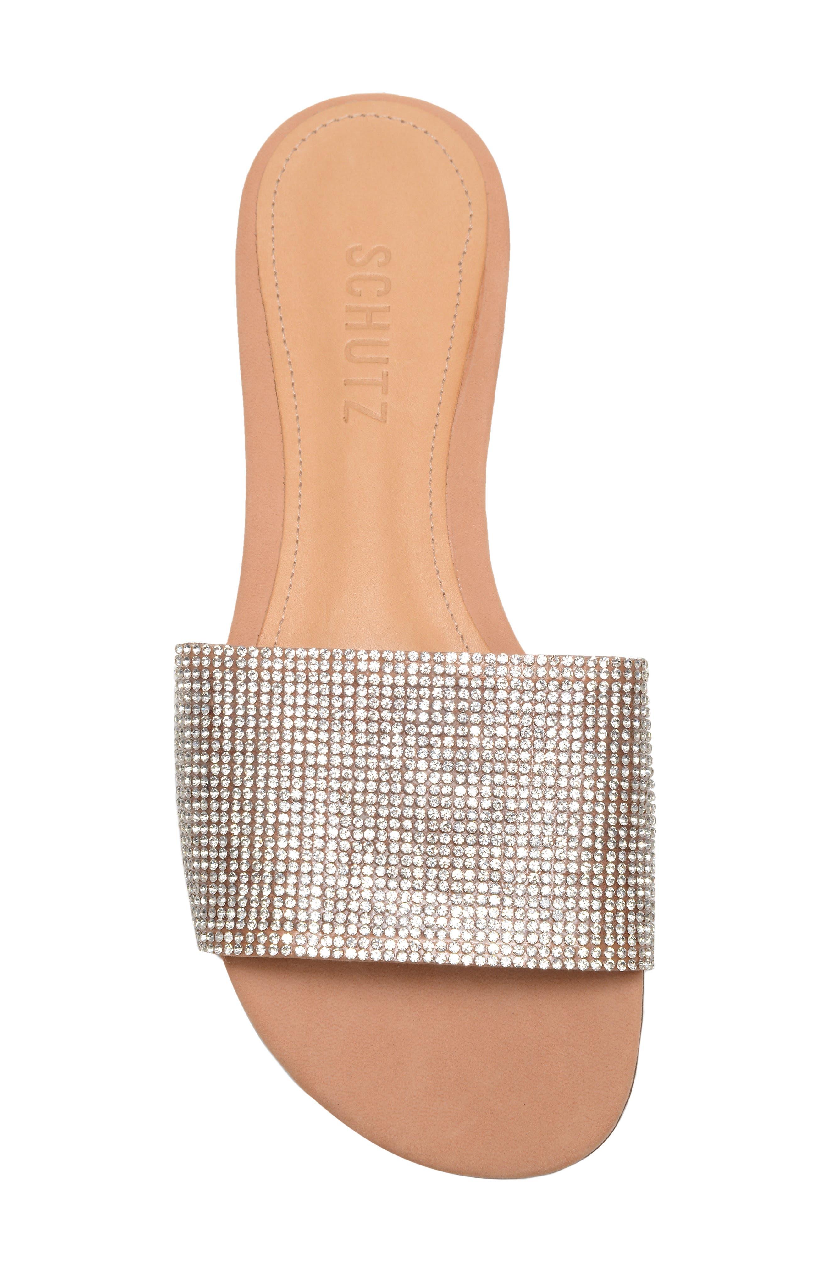 Queren Embellished Slide Sandal,                             Alternate thumbnail 5, color,                             CRISTAL