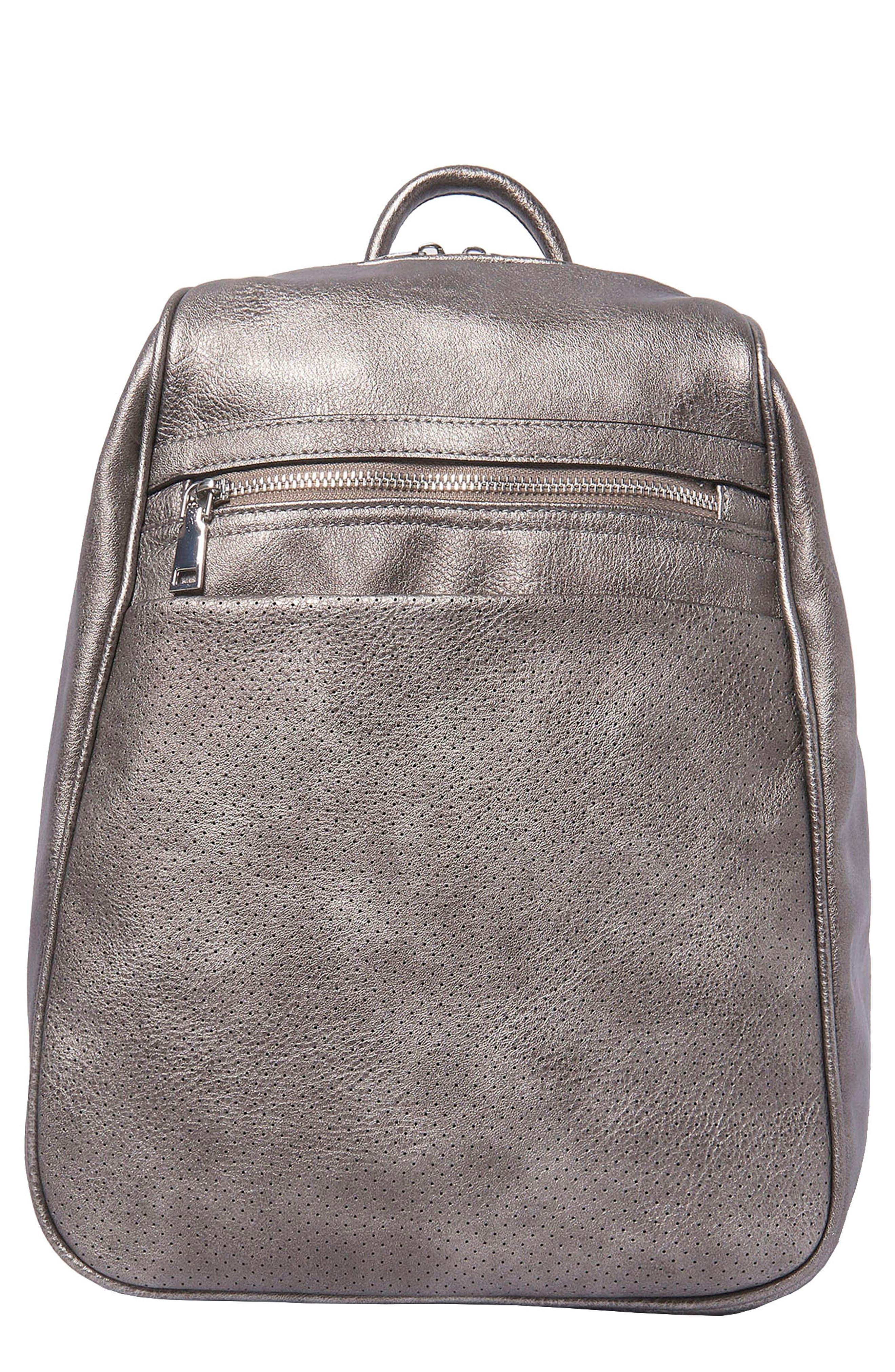 Dream On Vegan Leather Backpack - Metallic in Dark Silver