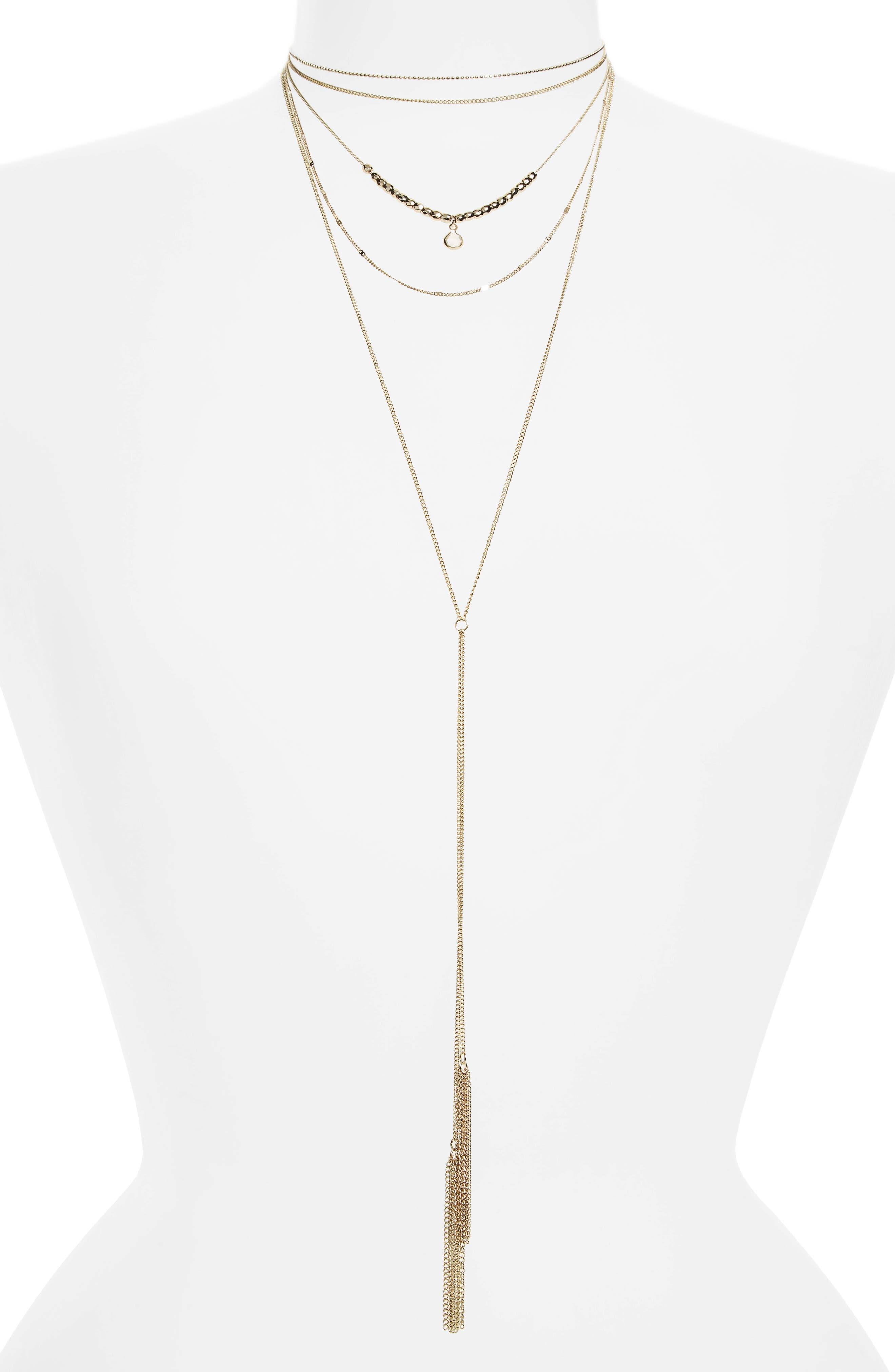 TOPSHOP,                             Multistrand Tassel Necklace,                             Main thumbnail 1, color,                             710