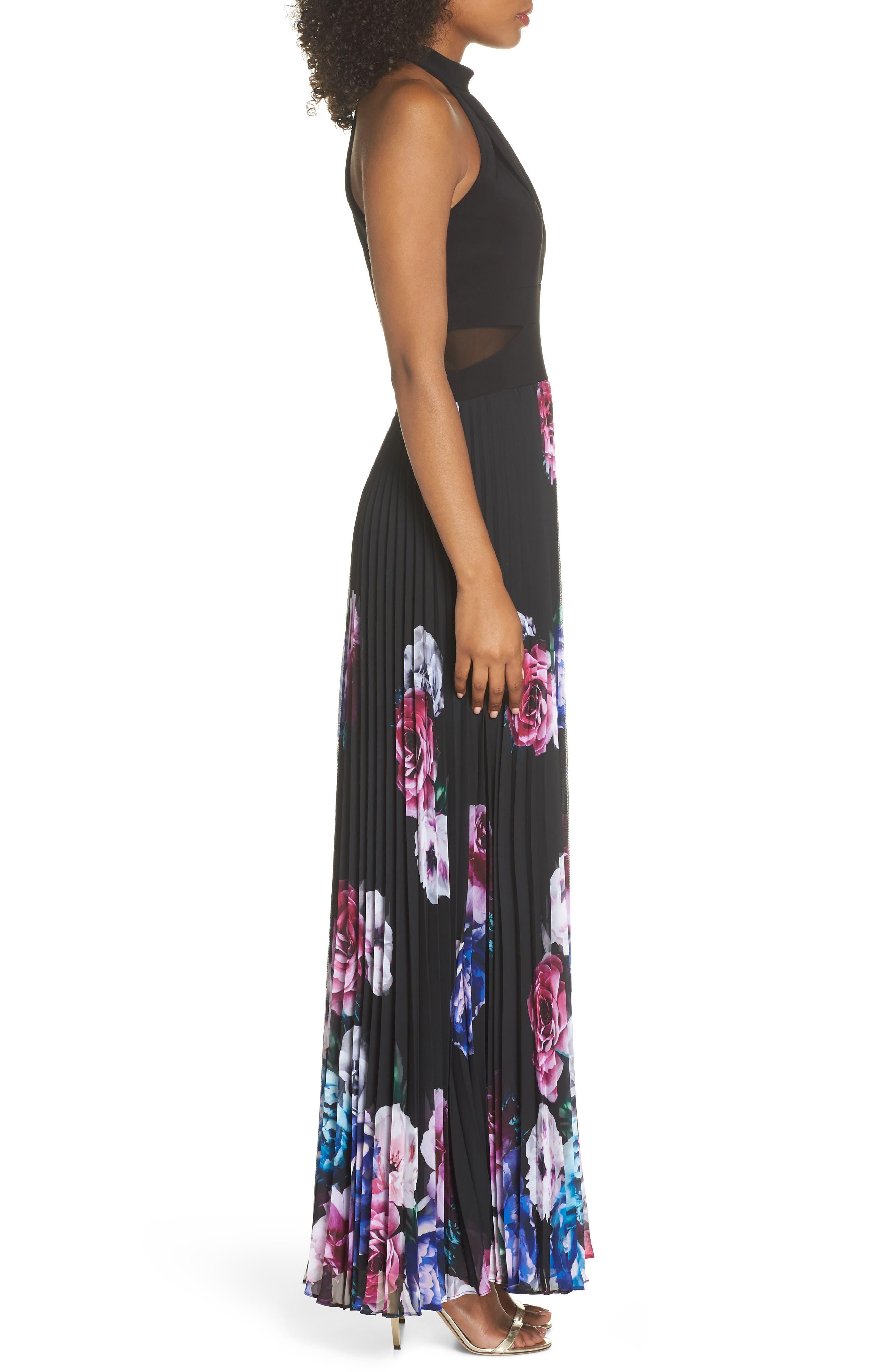 Halter Neck Gown,                             Alternate thumbnail 3, color,                             BLACK/ MAGENTA