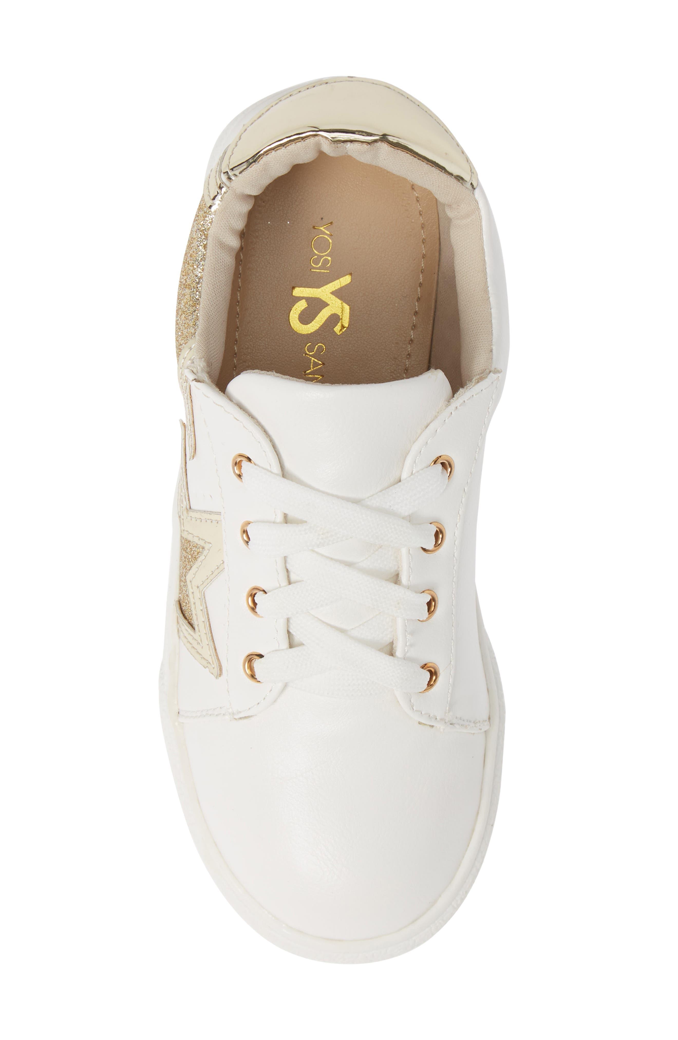 Miss Harper Appliqué Glitter Sneaker,                             Alternate thumbnail 5, color,                             WHITE W/ GOLD STAR