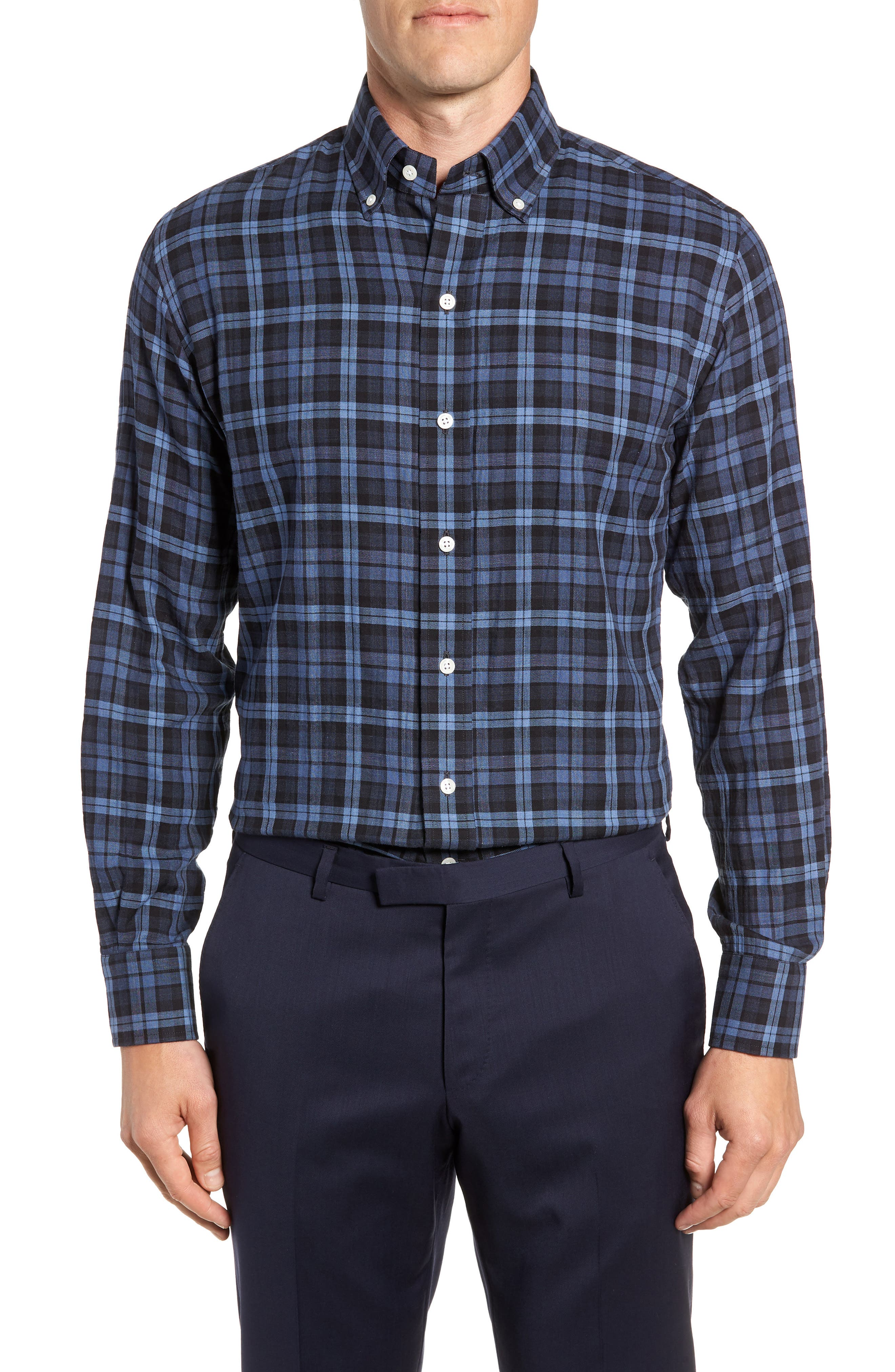 LEDBURY Torello Trim Fit Plaid Dress Shirt in Navy
