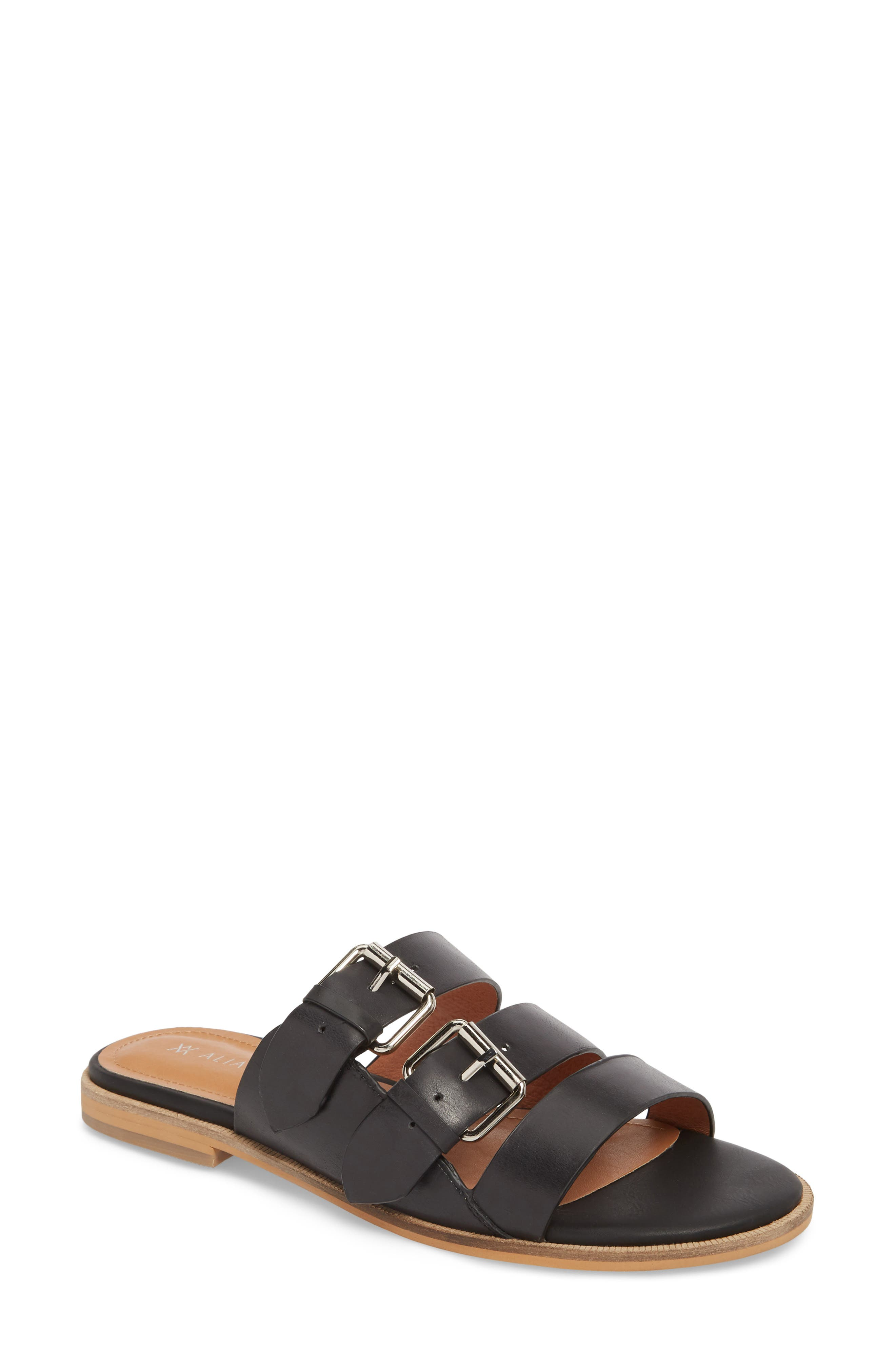 Theatre Buckled Slide Sandal,                         Main,                         color, BLACK LEATHER