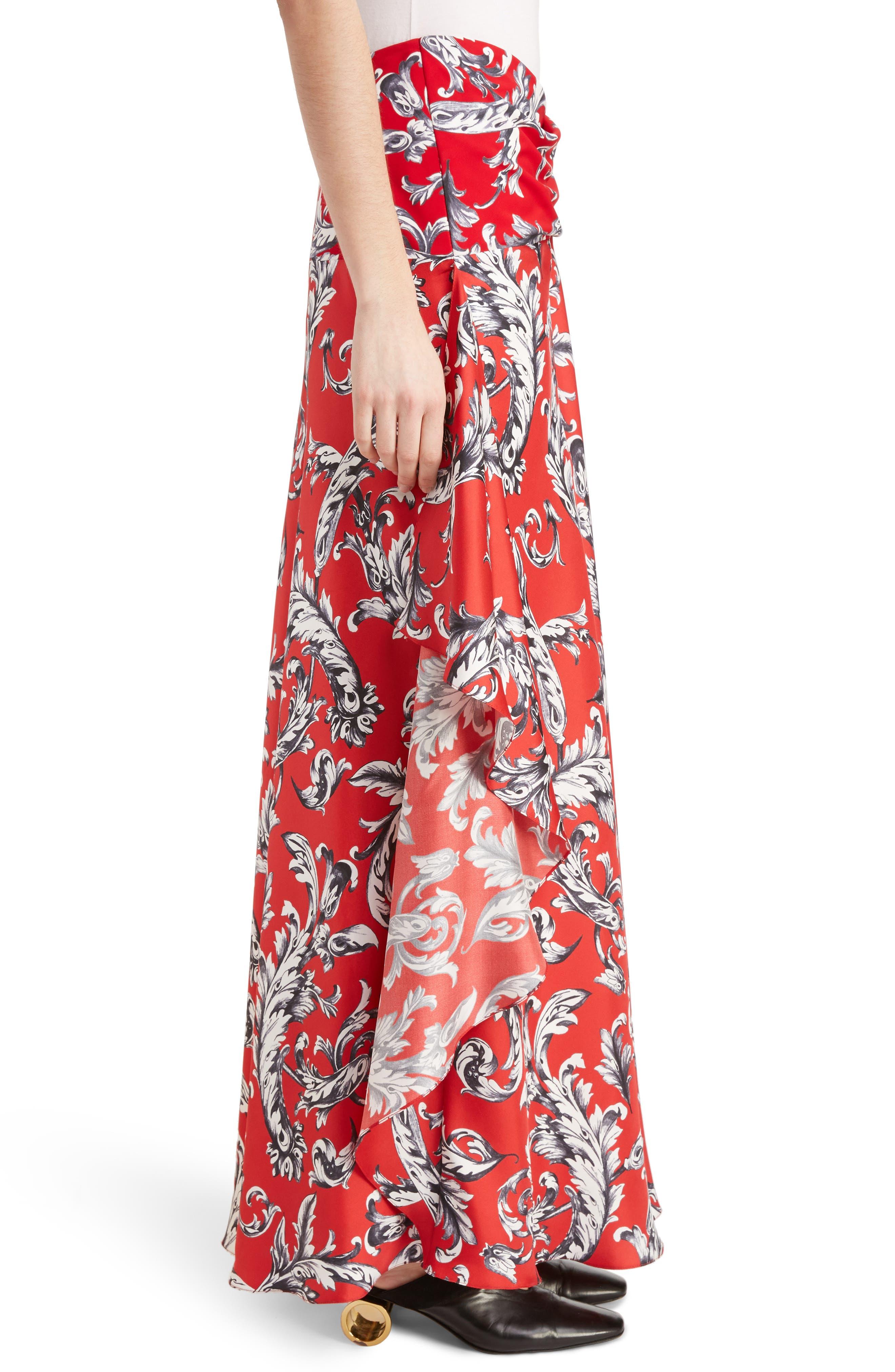 J.W.ANDERSON Filigree Print Asymmetrical Maxi Skirt,                             Alternate thumbnail 3, color,