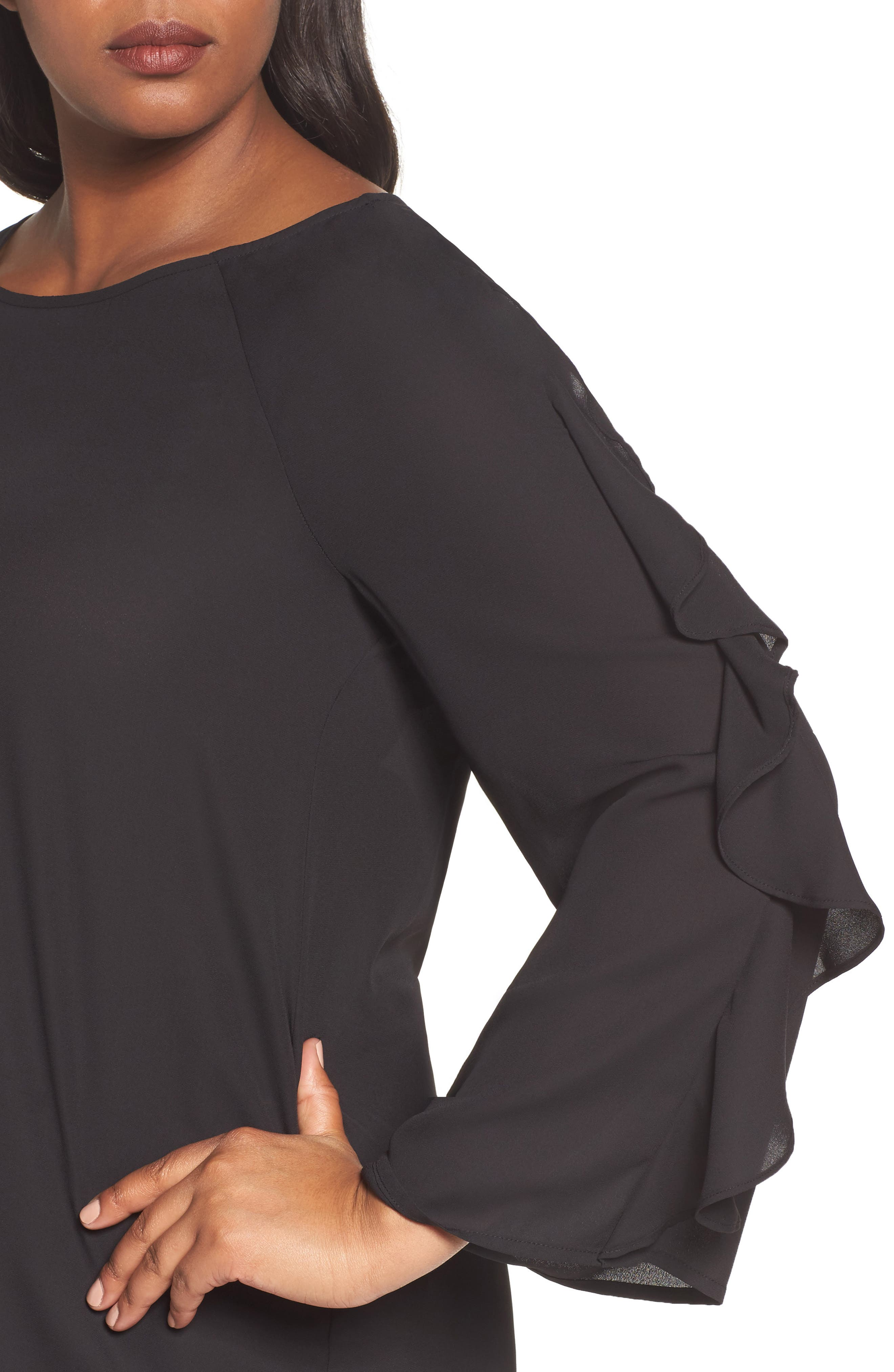Ruffle Bell Sleeve Blouse,                             Alternate thumbnail 4, color,                             001