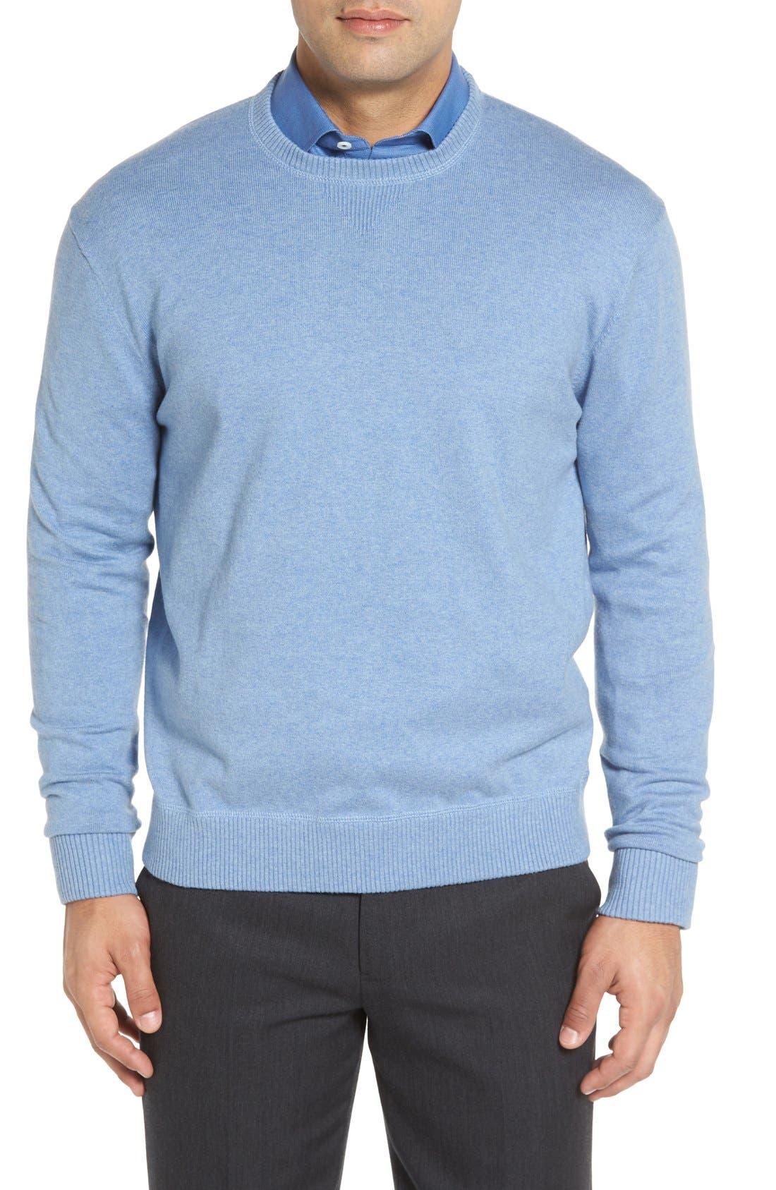 'Jersey Sport' Cotton Blend Crewneck Sweater,                             Main thumbnail 4, color,