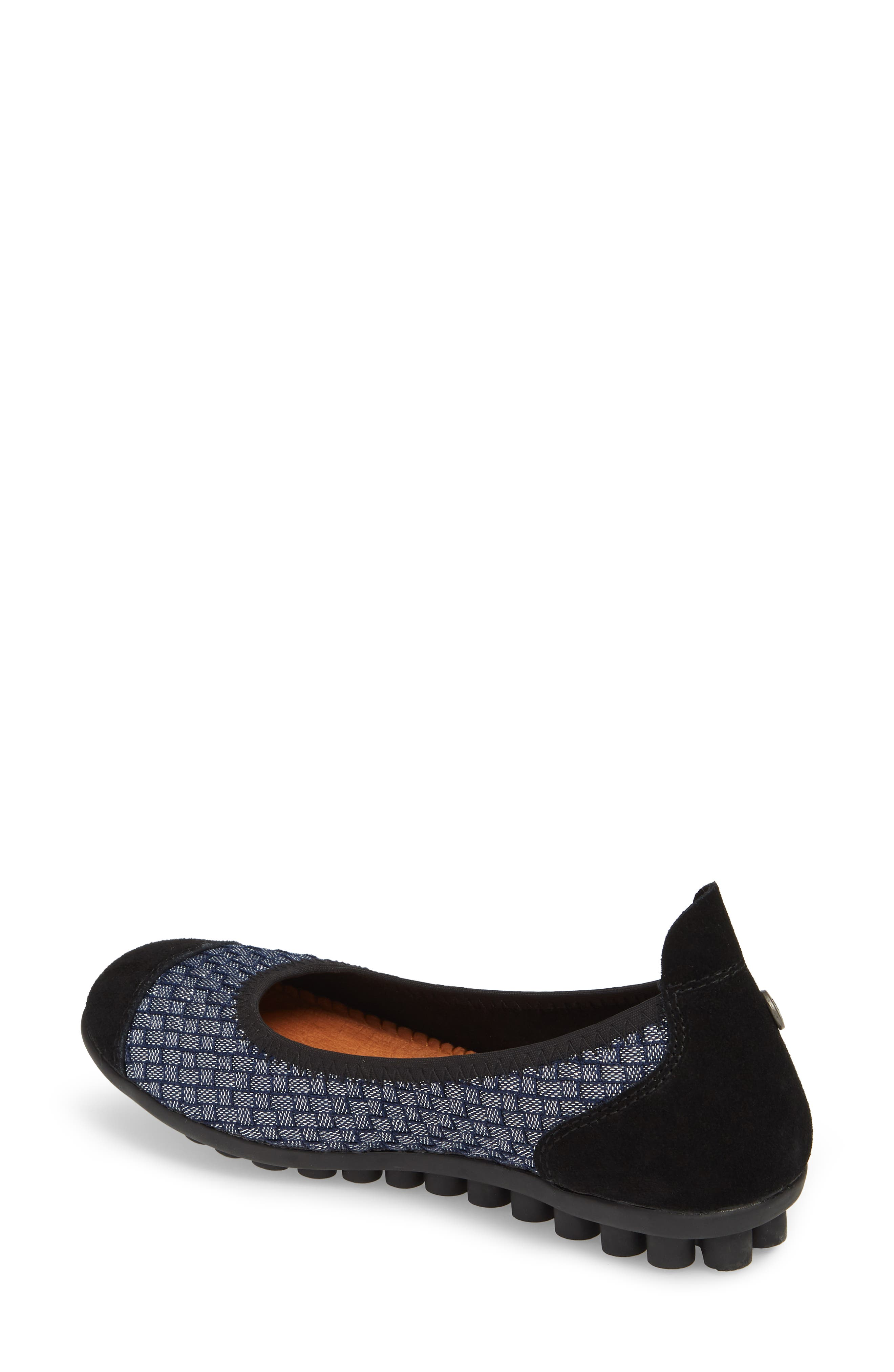 'Bella Me' Woven Flat,                             Alternate thumbnail 2, color,                             NAVY SHIMMER FABRIC