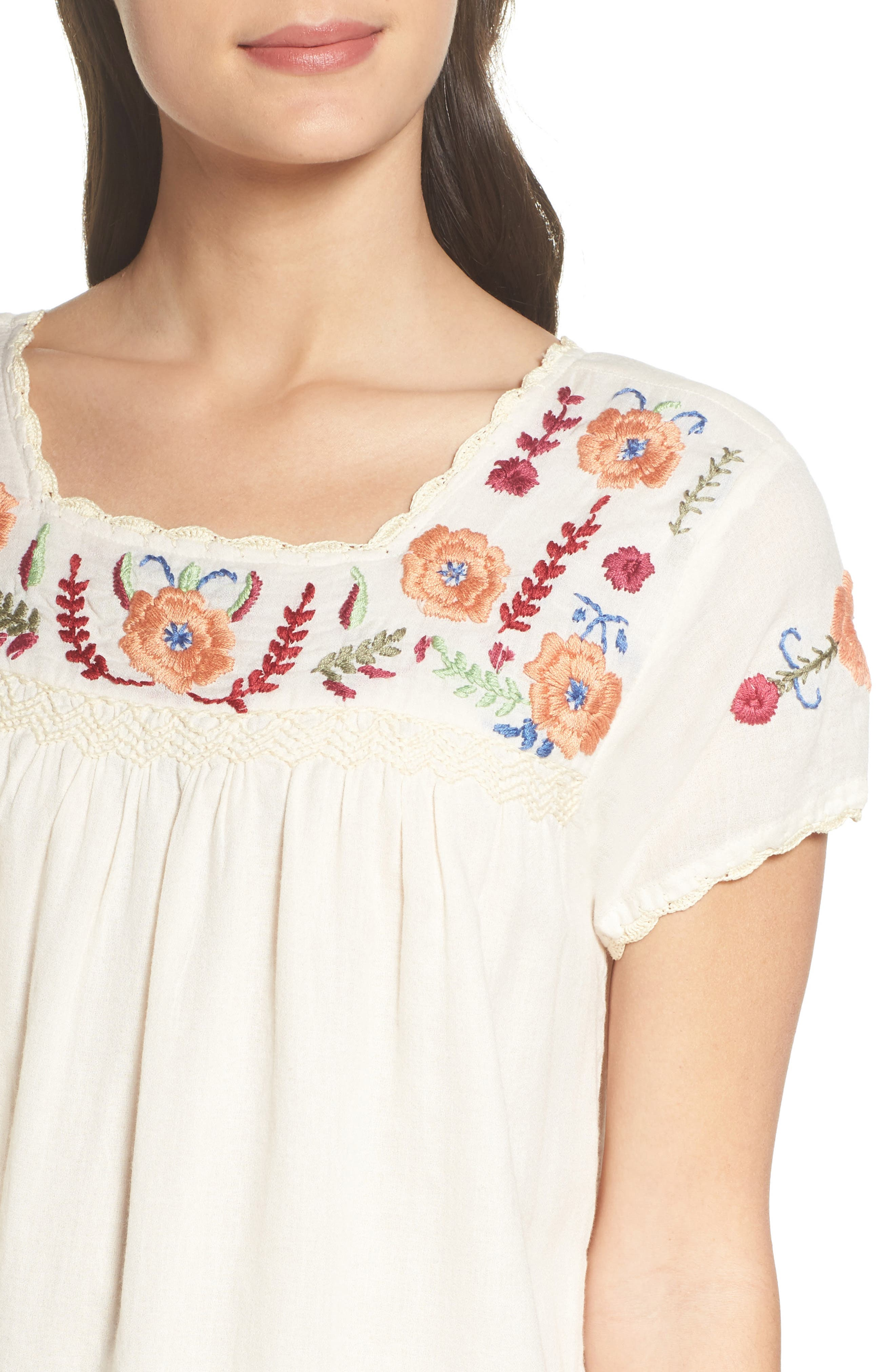 Embroidered Shift Dress,                             Alternate thumbnail 4, color,                             110