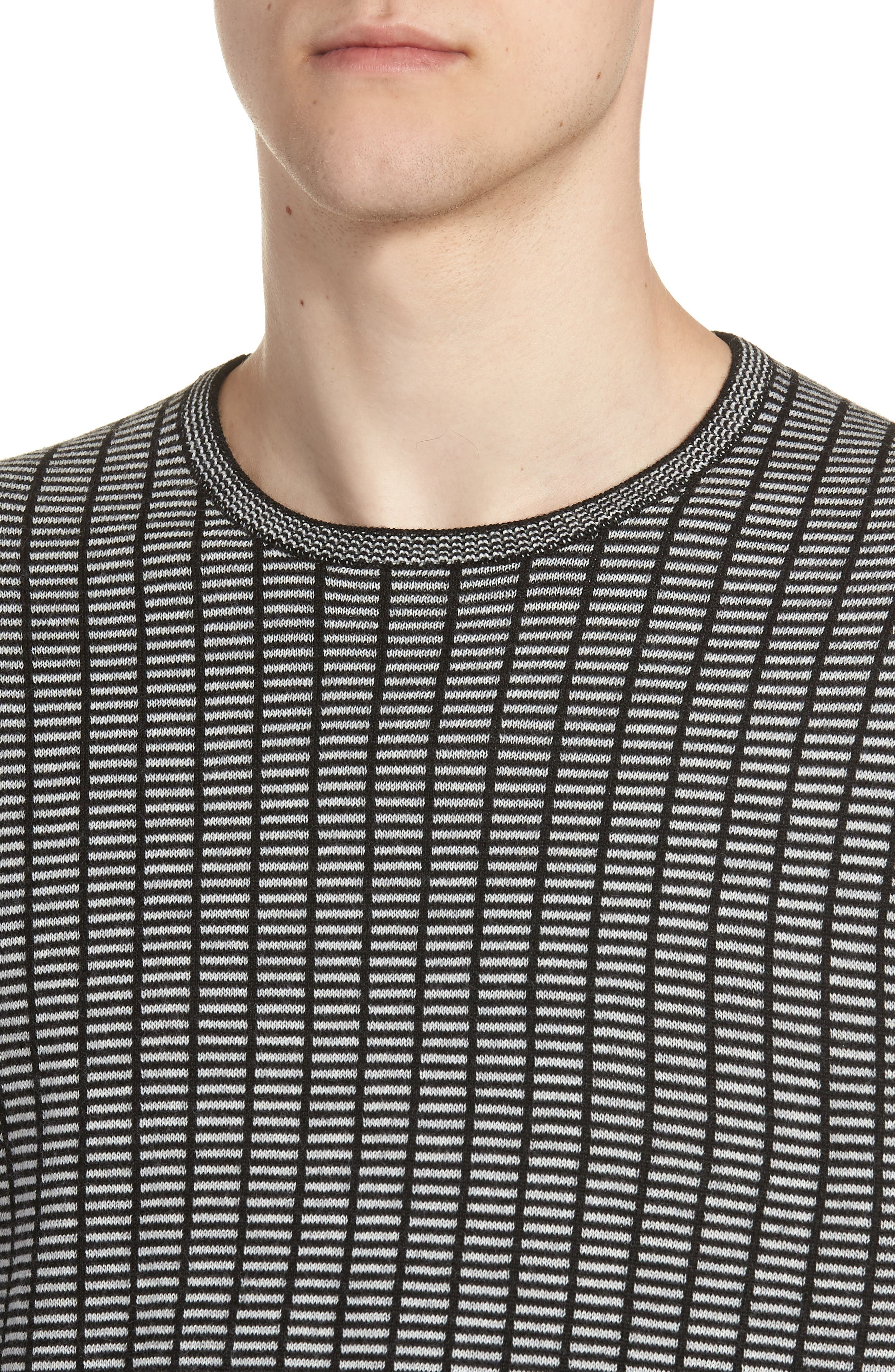 Grid Crewneck Sweater,                             Alternate thumbnail 4, color,                             BLACK CAVIAR